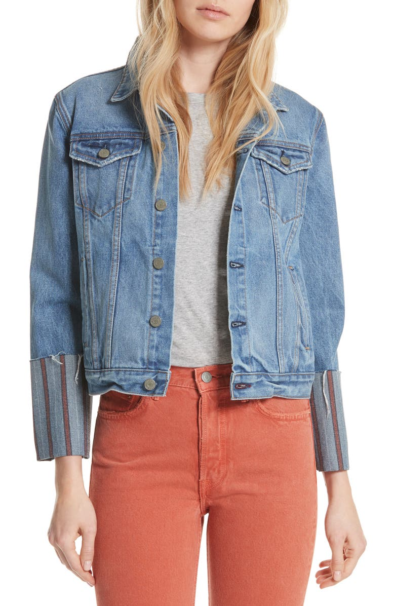 Bianca Stripe Cuff Denim Jacket