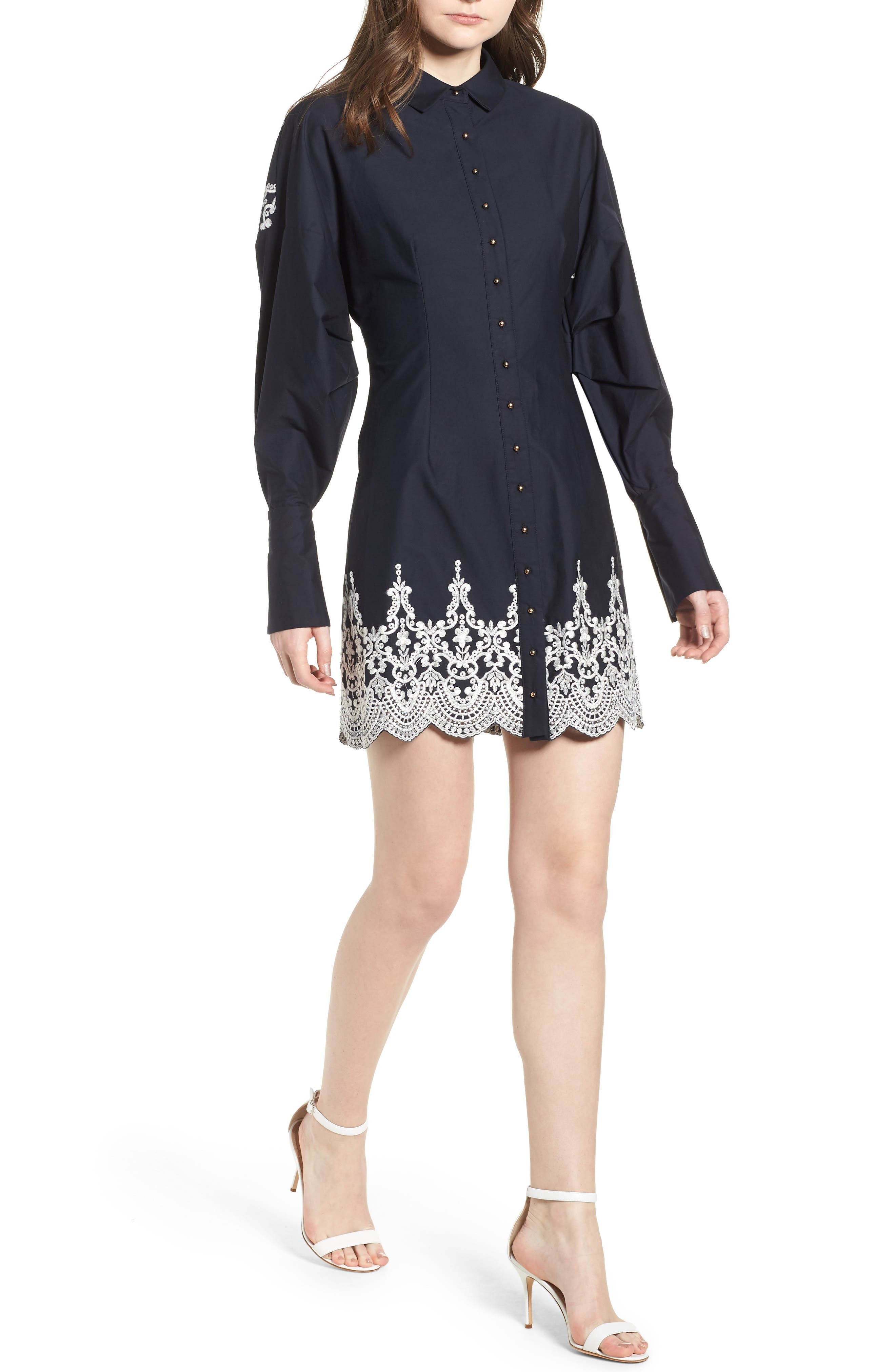 ELLIATT BRIDGES EMBROIDERED SHIRTDRESS