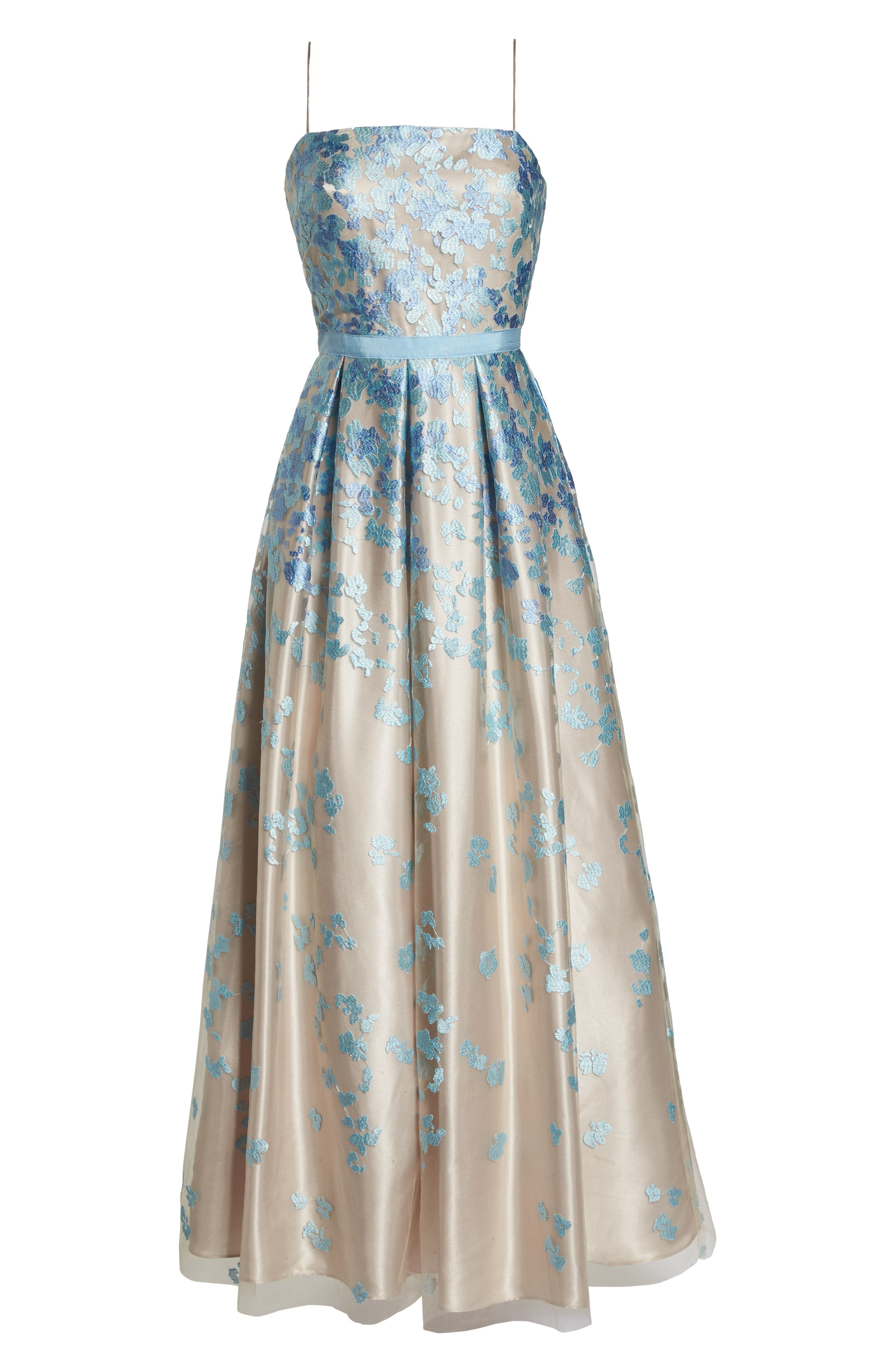 Floral Embroidered Box Pleat Ballgown,                             Alternate thumbnail 7, color,                             Aqua Beige