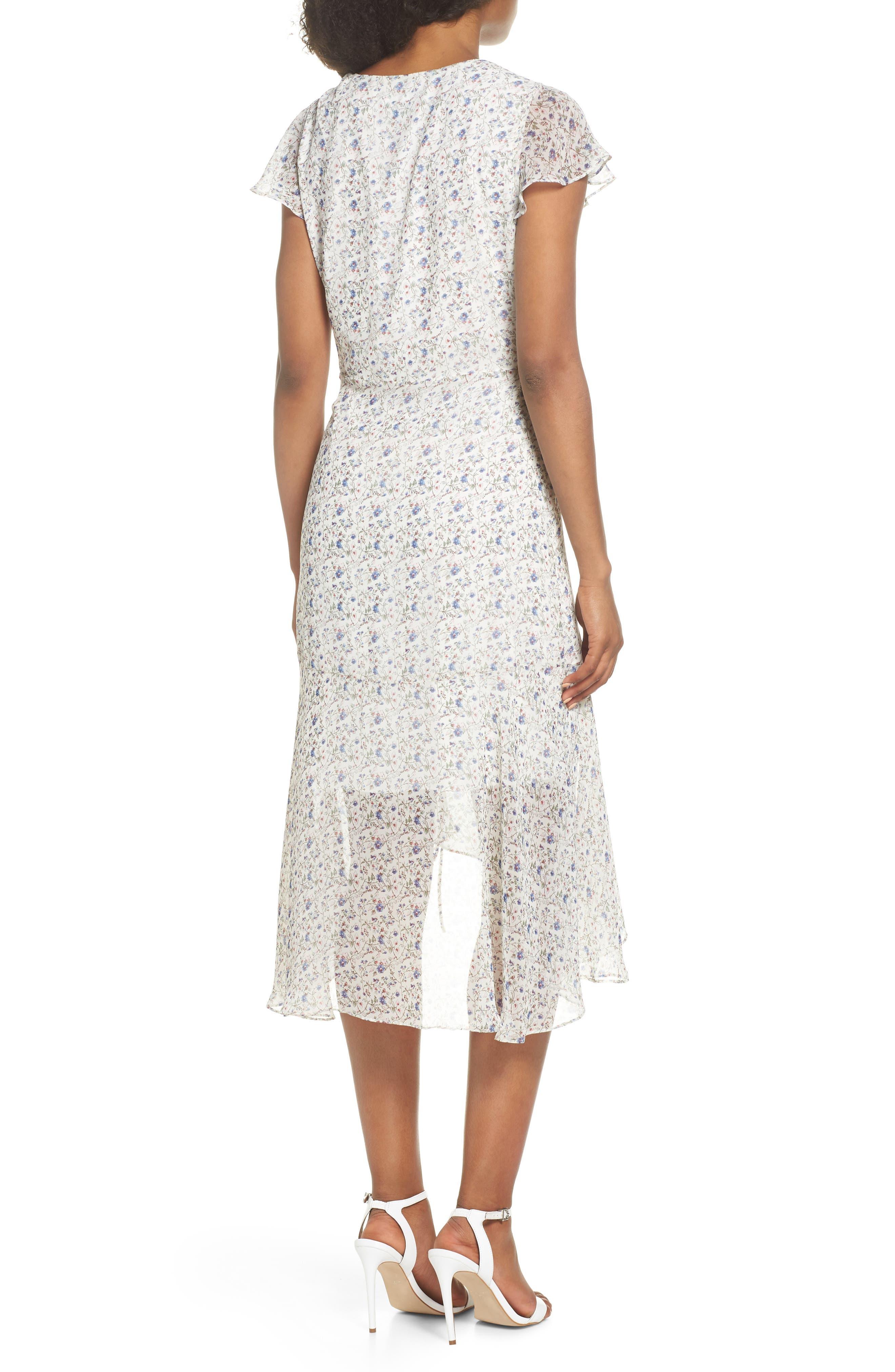 Print Ruched Chiffon Midi Dress,                             Alternate thumbnail 2, color,                             Ivory