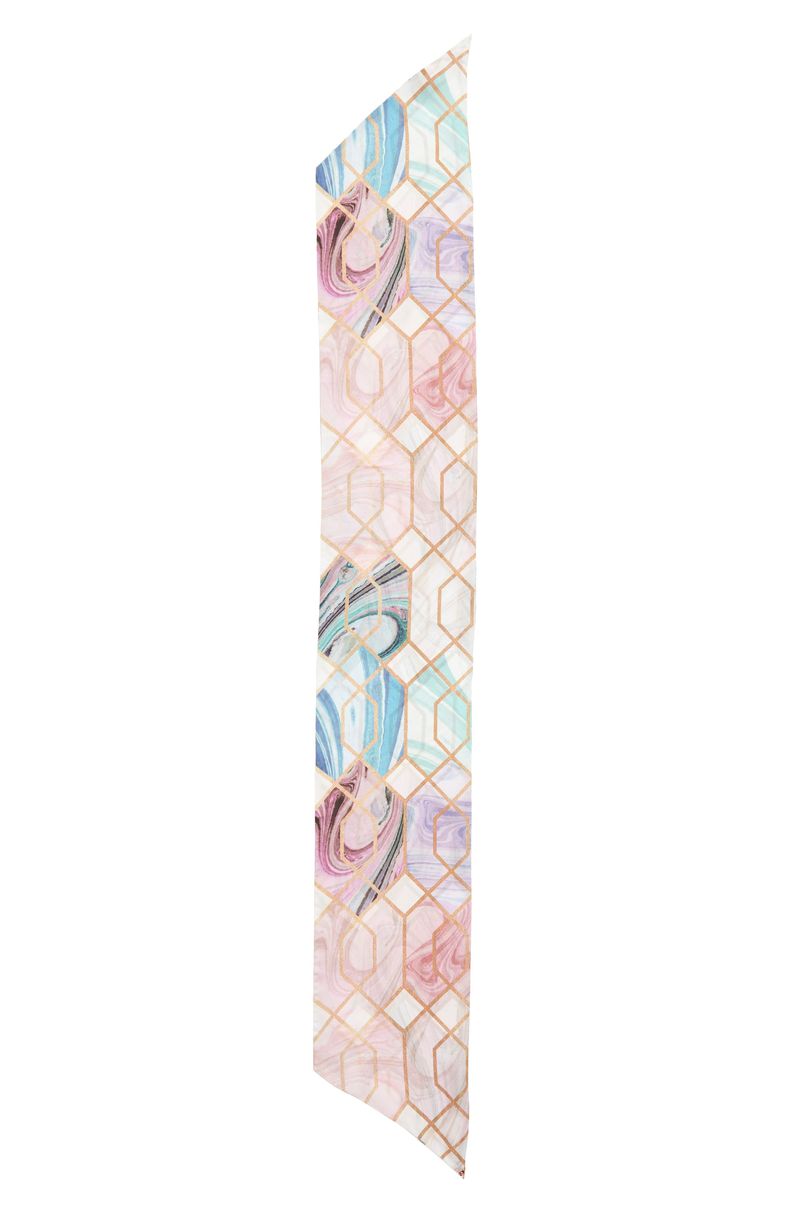 Adeelee - Sea of Clouds Silk Scarf,                             Alternate thumbnail 3, color,                             White
