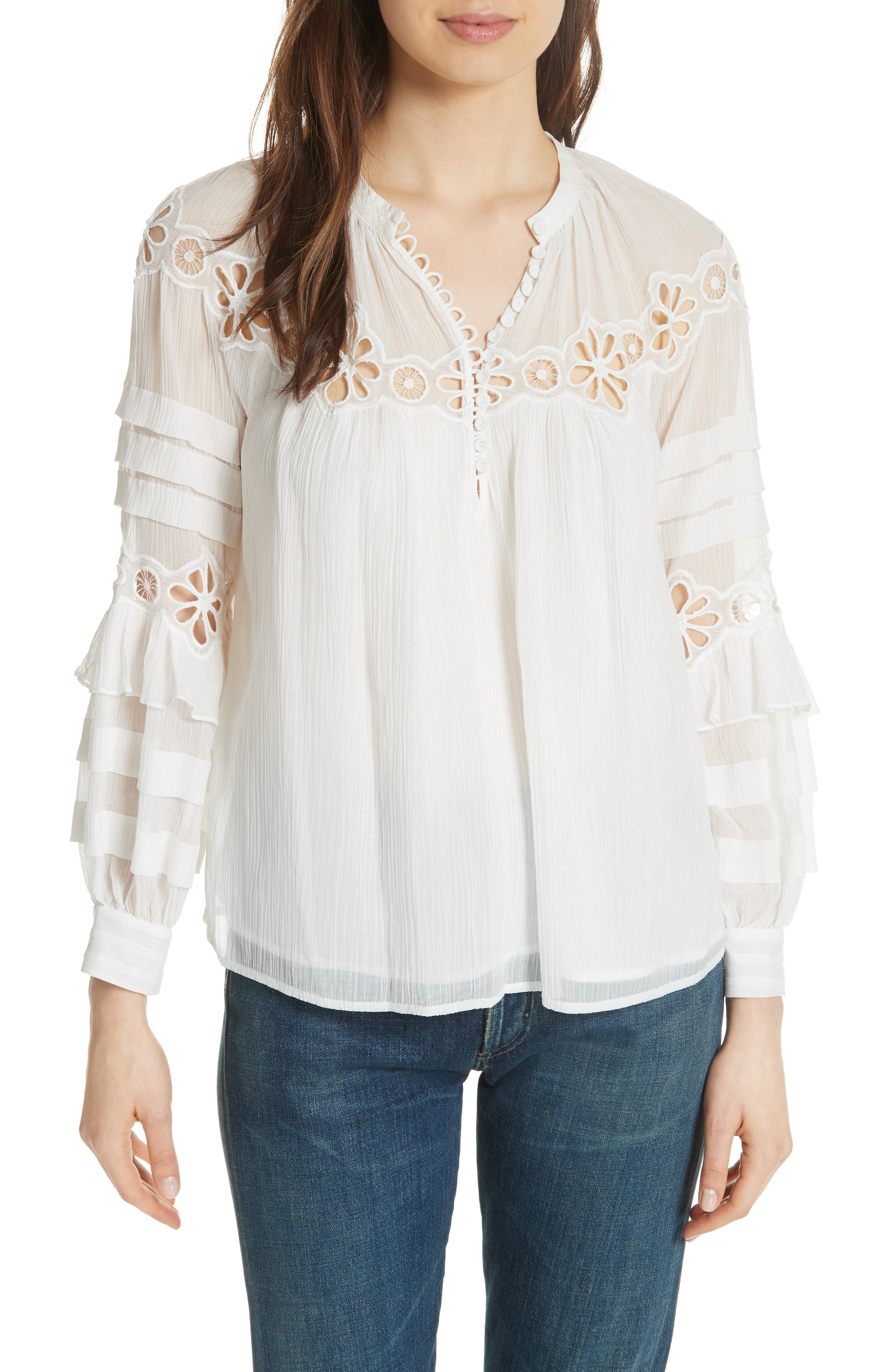 Alternate Image 1 Selected - Rebecca Taylor Pinwheel Eyelet Top