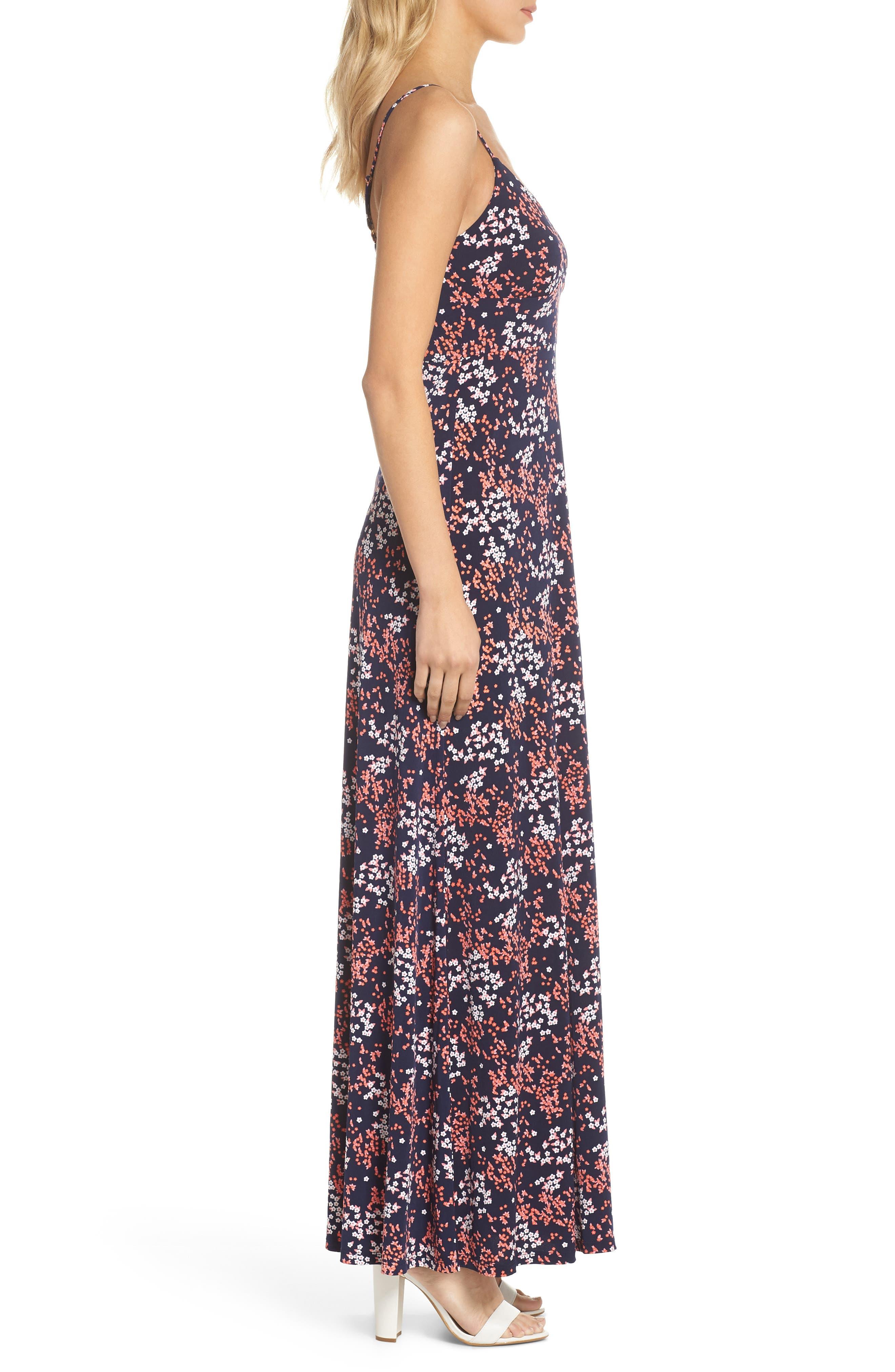 Bloom Maxi Dress,                             Alternate thumbnail 3, color,                             True Navy/ Bight Blush
