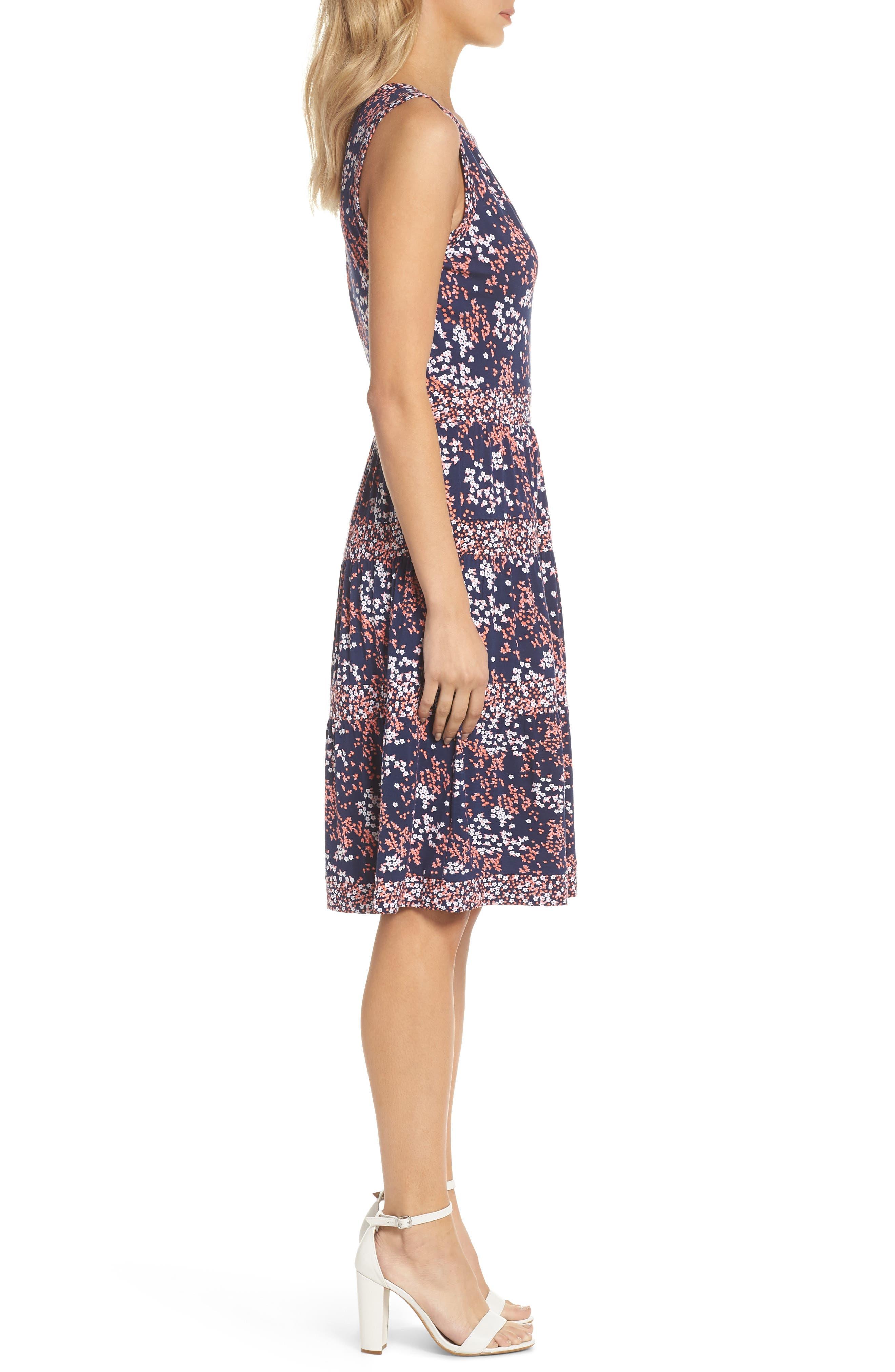 Blooms Border Tiered Dress,                             Alternate thumbnail 3, color,                             True Navy/ Bright Blush