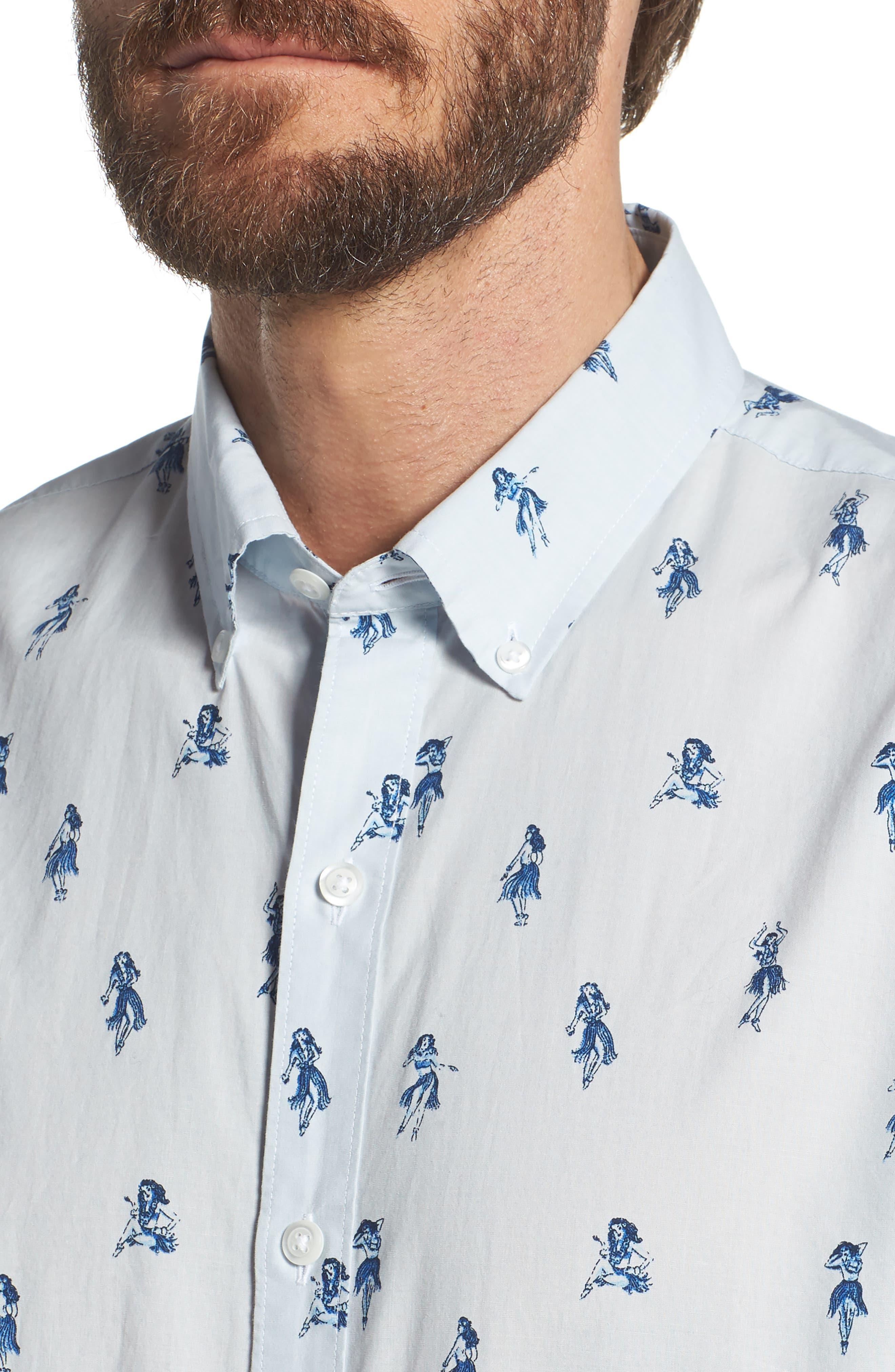 Summerweight Slim Fit Hula Print Sport Shirt,                             Alternate thumbnail 2, color,                             Hula Revenge - Deep Pacific