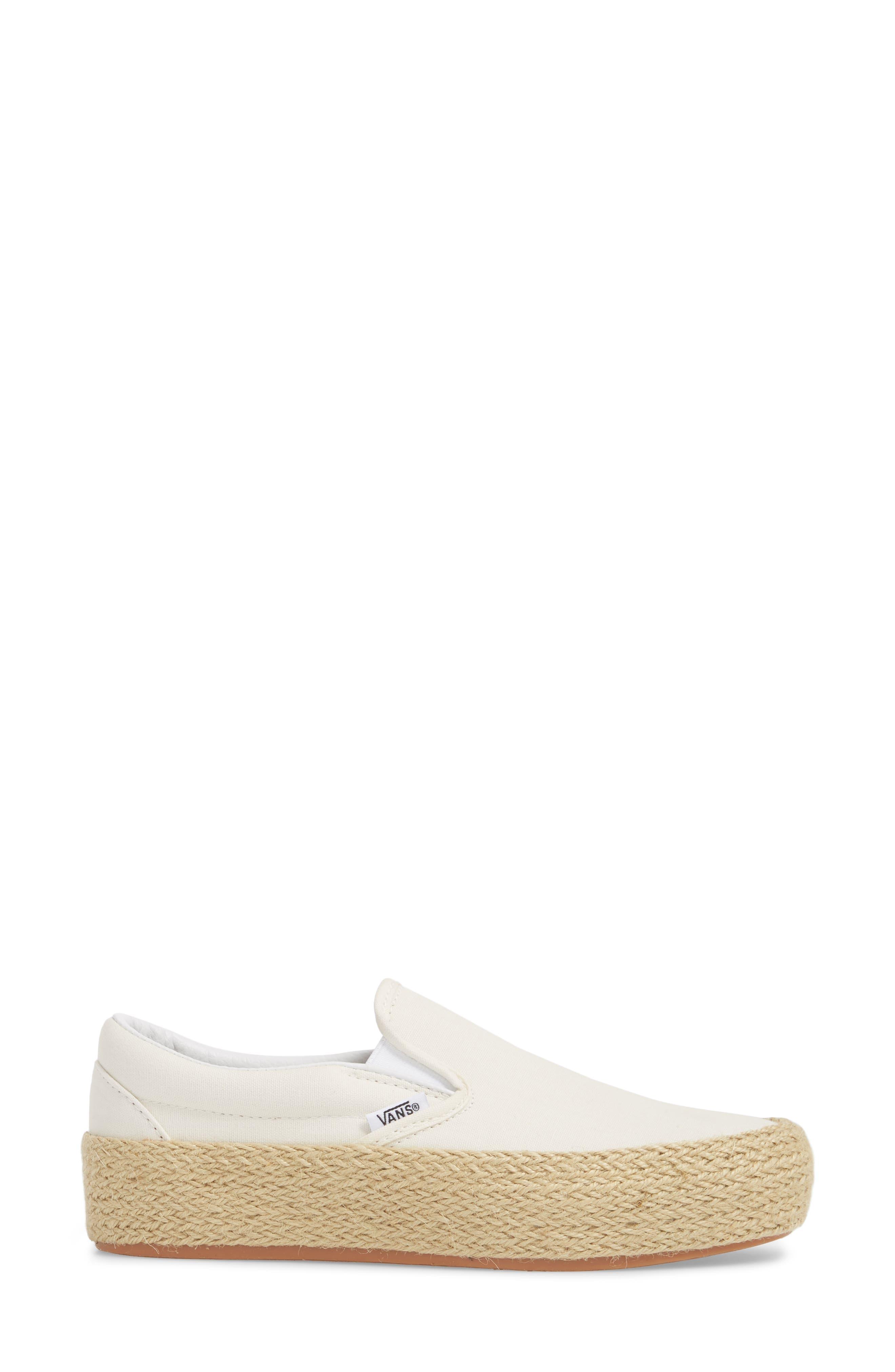 Platform Slip-On Sneaker,                             Alternate thumbnail 3, color,                             Marshmallow