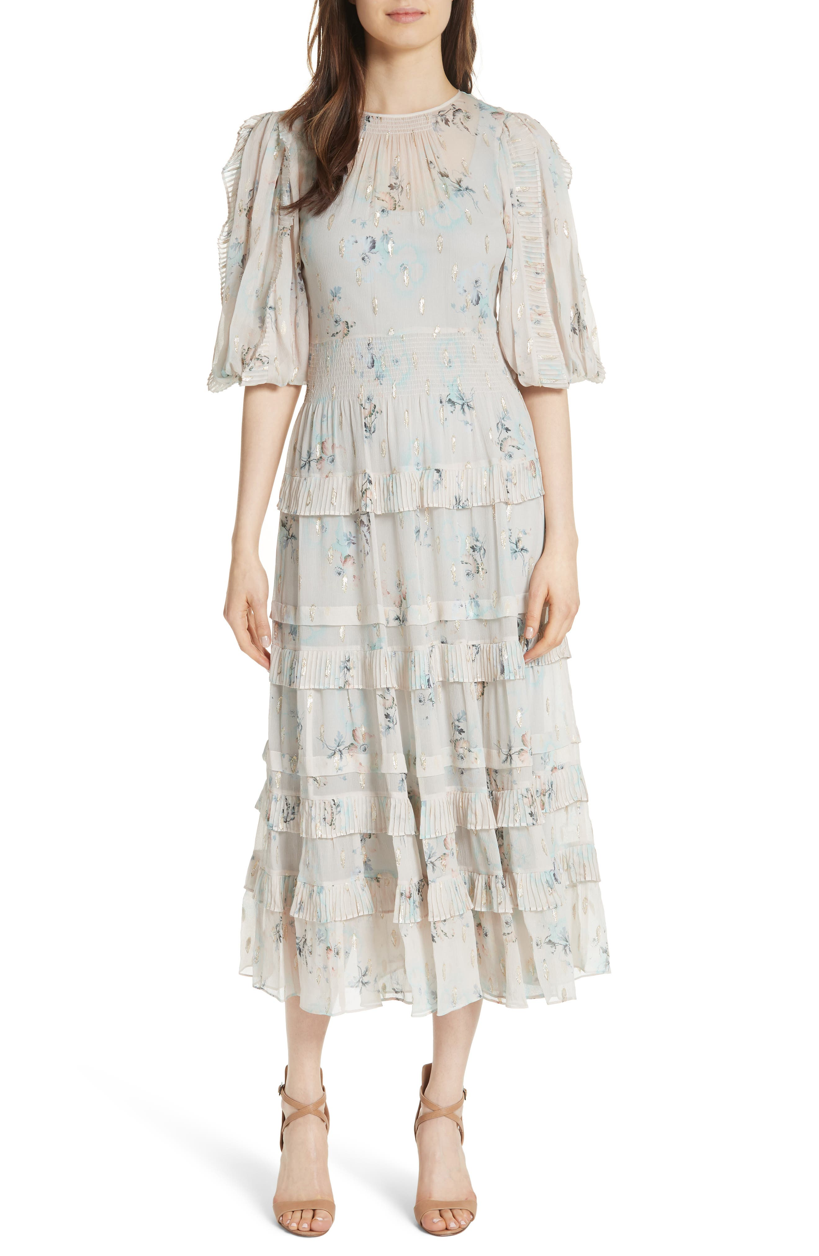 Rebecca Taylor Metallic Faded Floral Midi Dress