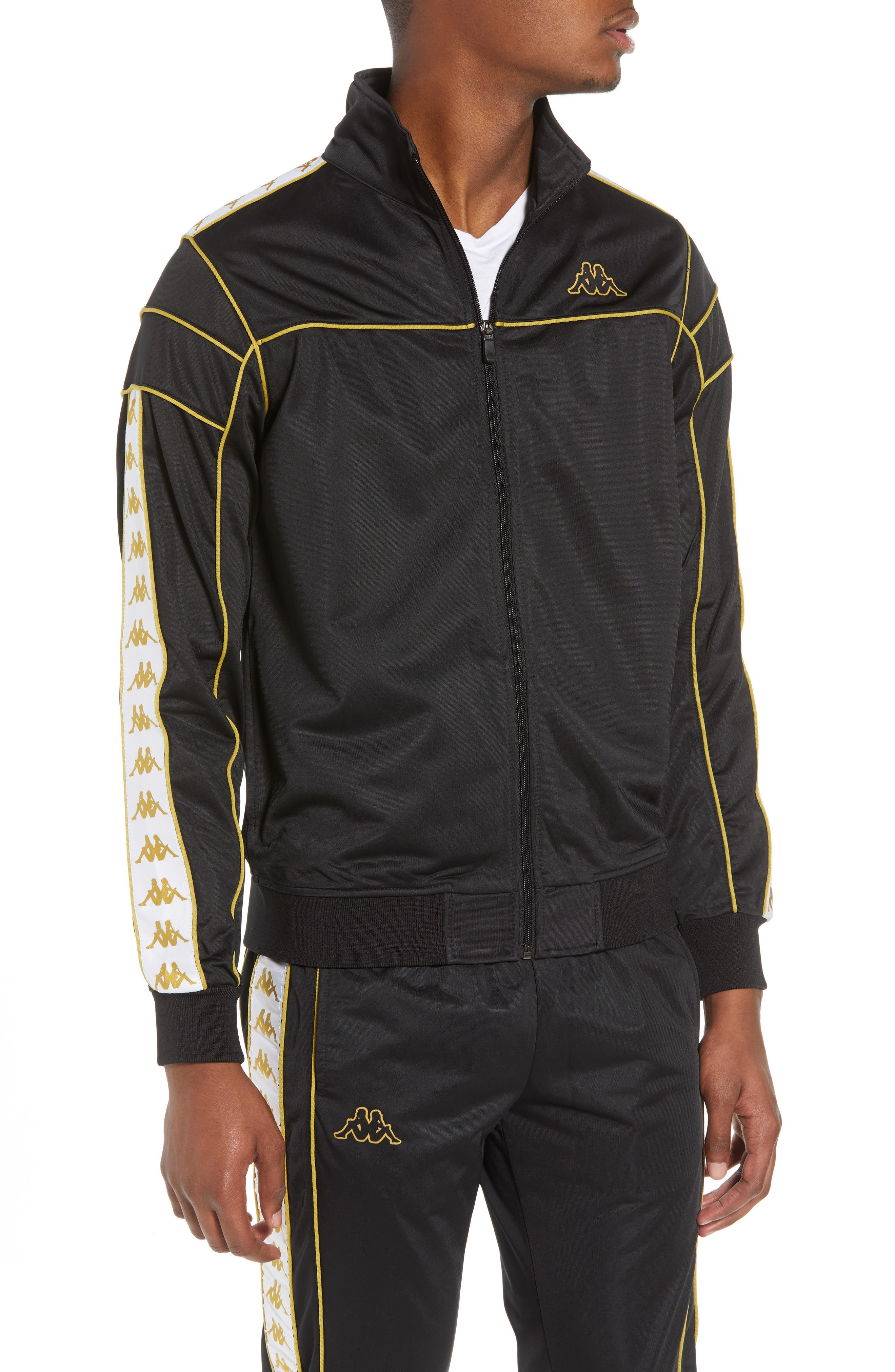 Racing Track Jacket,                         Main,                         color, Black/ White Gold