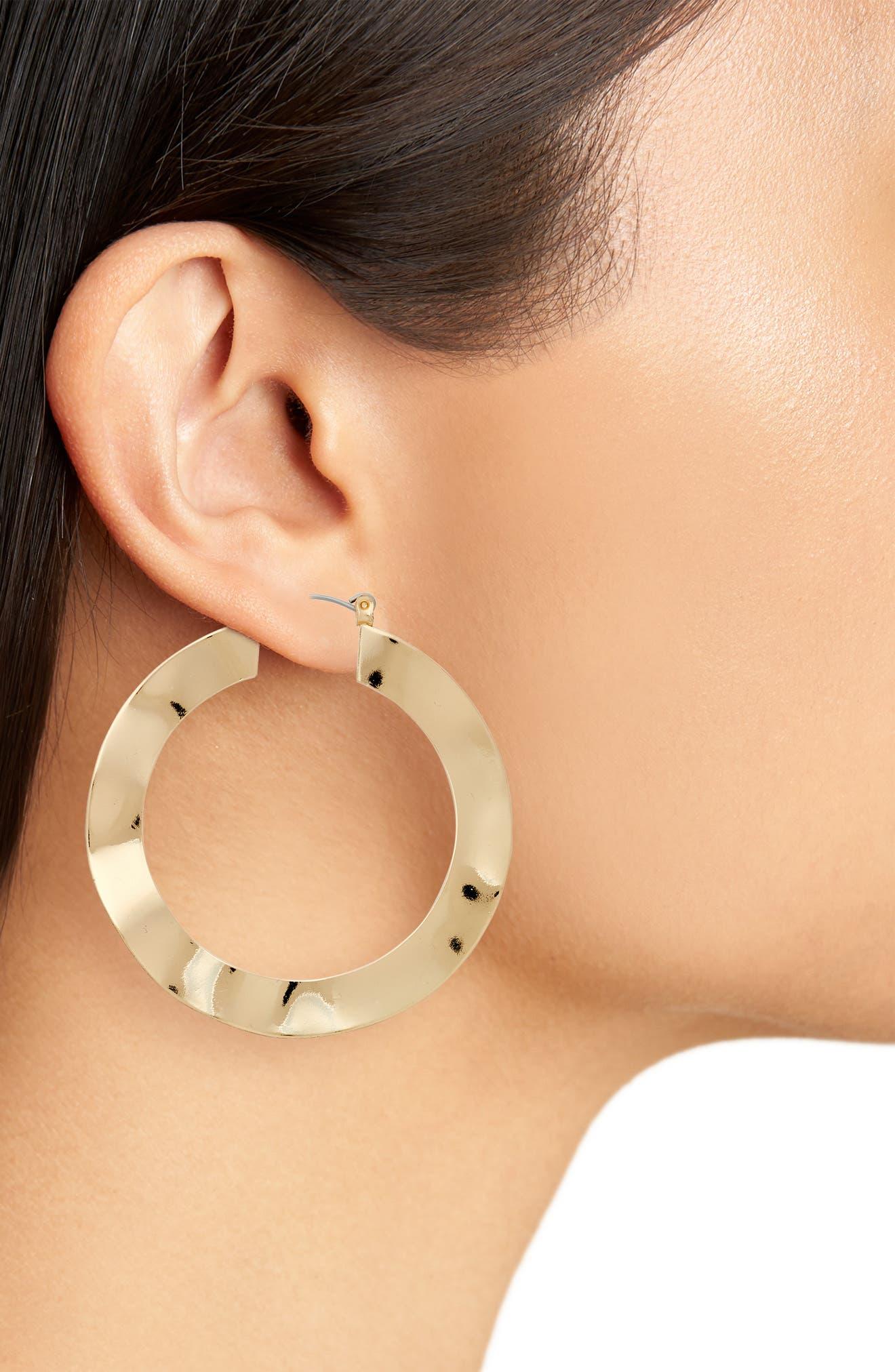 Wavy Hoop Earrings,                             Alternate thumbnail 2, color,                             Gold