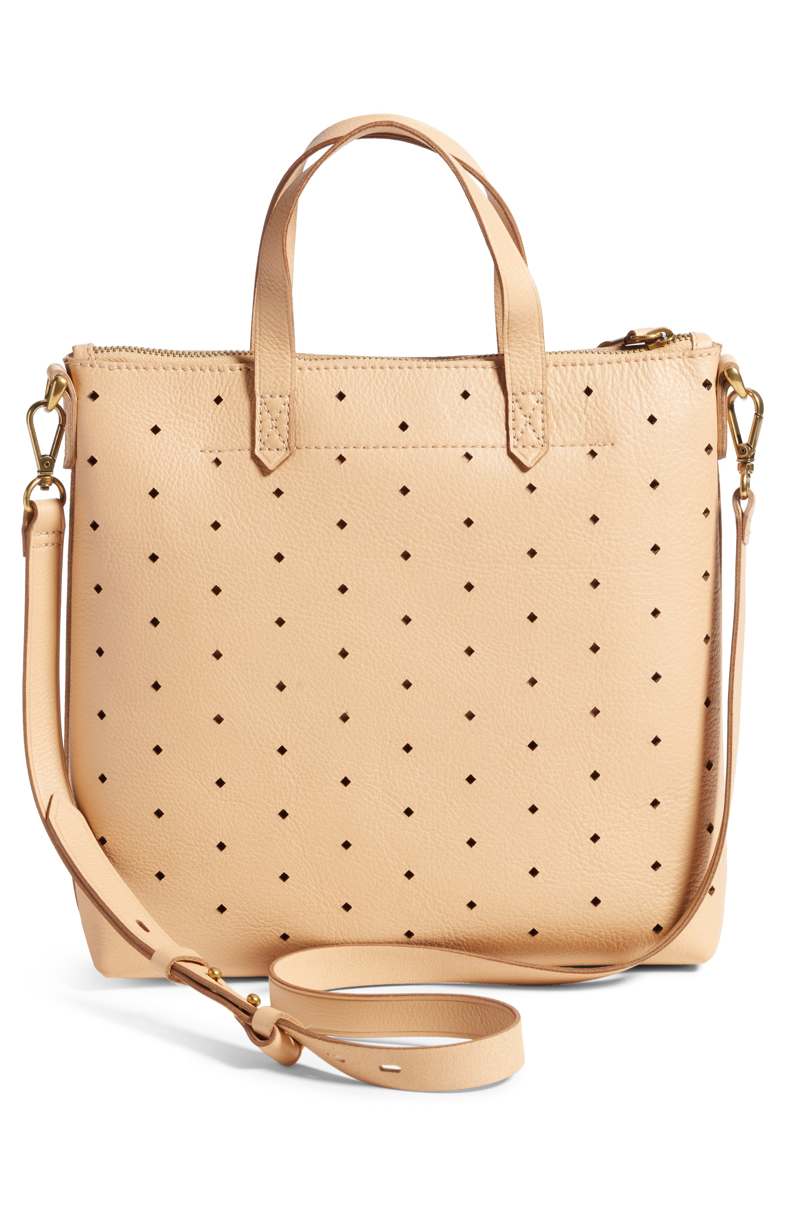 Mini Transport Perforated Leather Crossbody Bag,                             Alternate thumbnail 3, color,                             Linen
