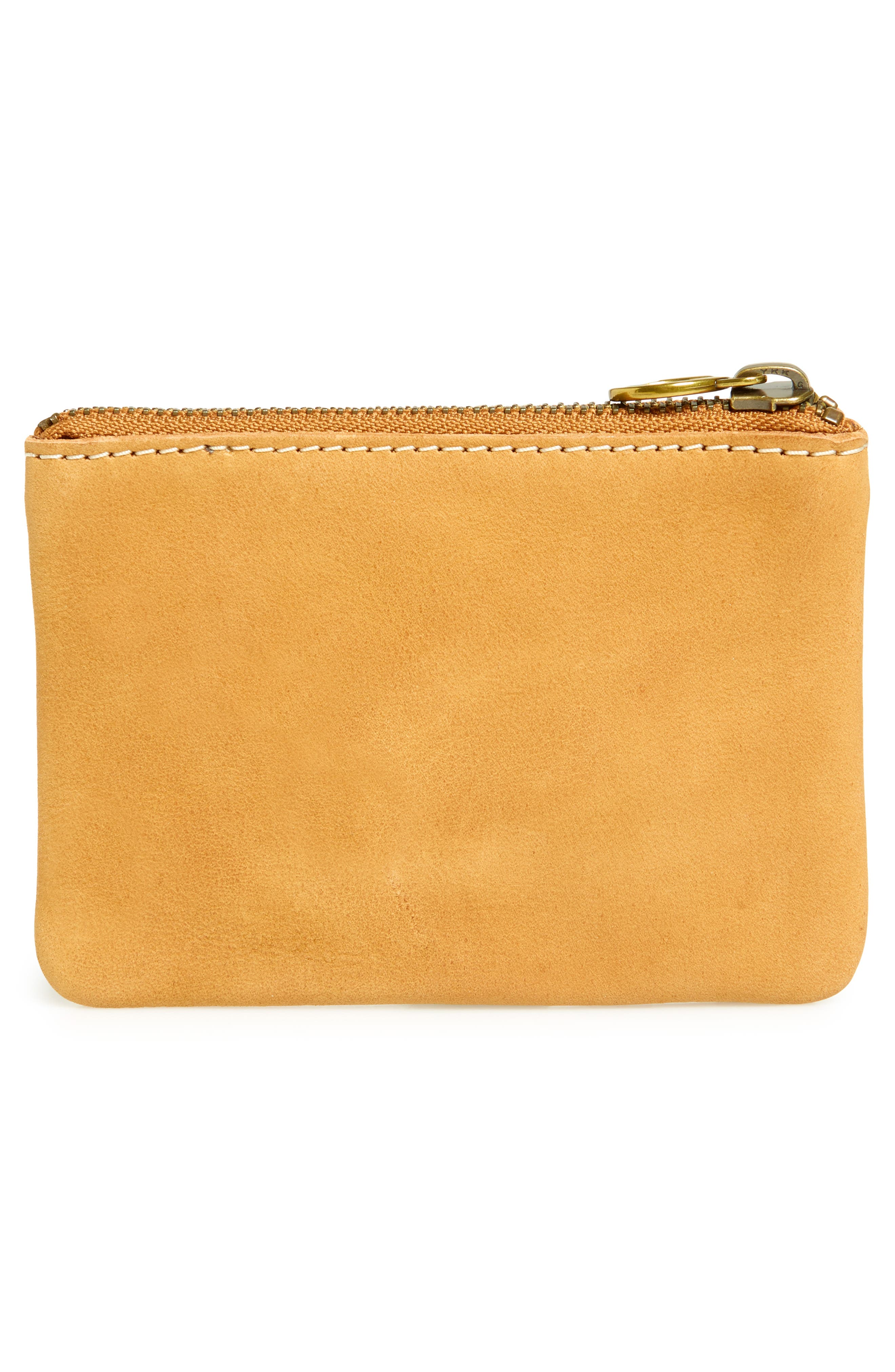 Sun Embroidered Small Flat Zip Pouch,                             Alternate thumbnail 3, color,                             Burnished Caramel