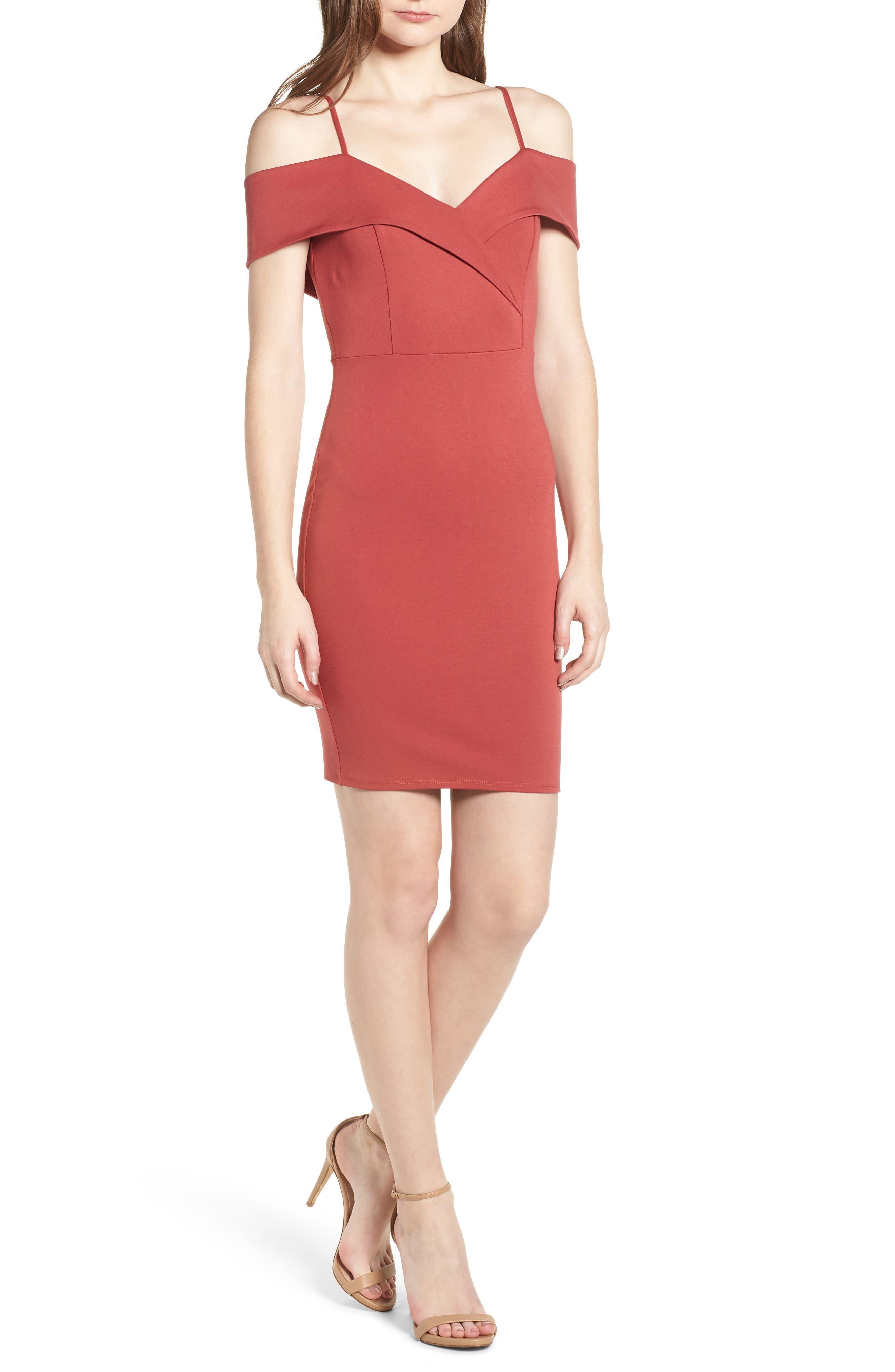 Soprano Cold Shoulder Body-Con Dress
