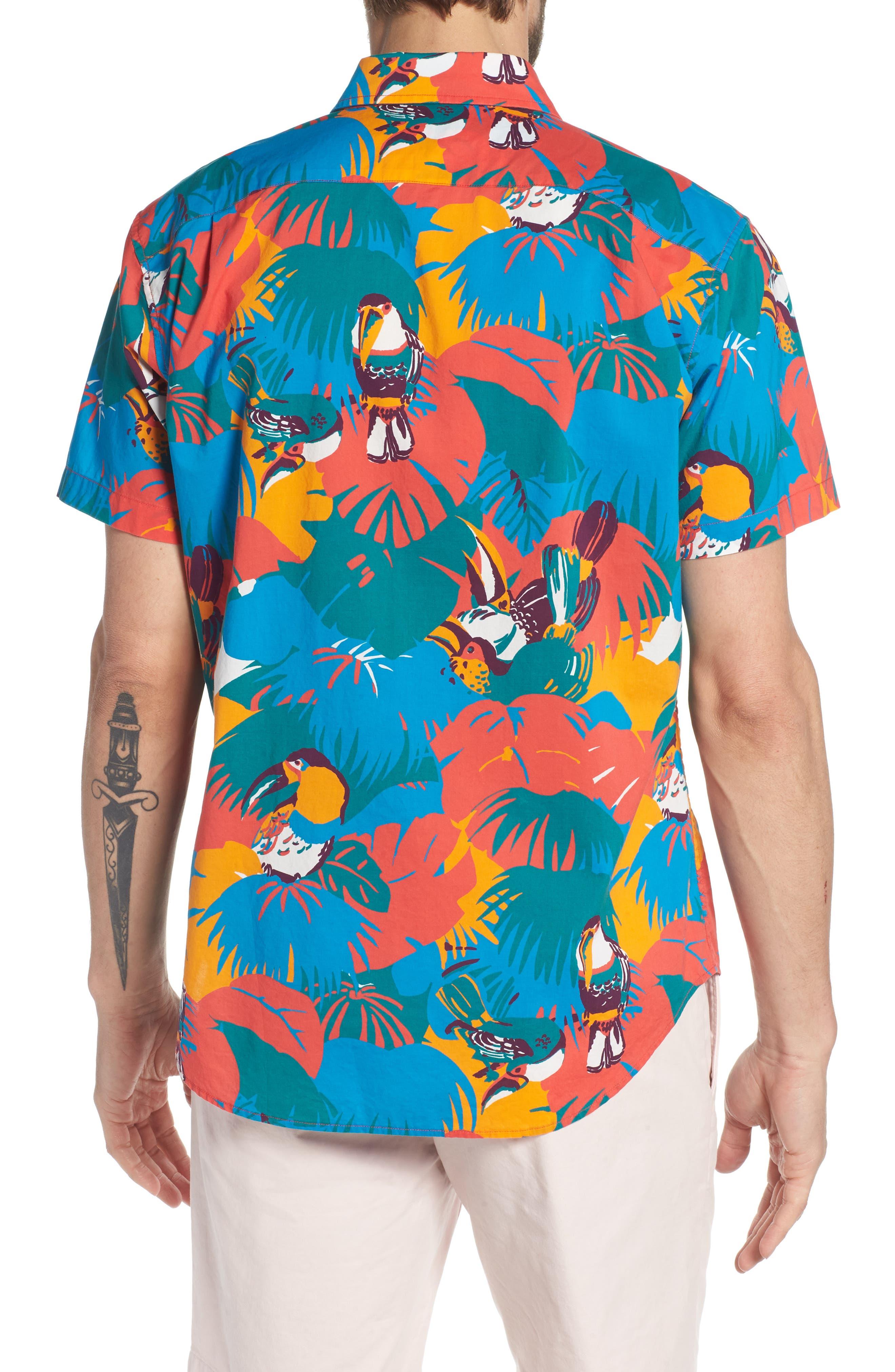 Slim Fit Print Sport Shirt,                             Alternate thumbnail 3, color,                             Toucan Tropics - Coral Fan