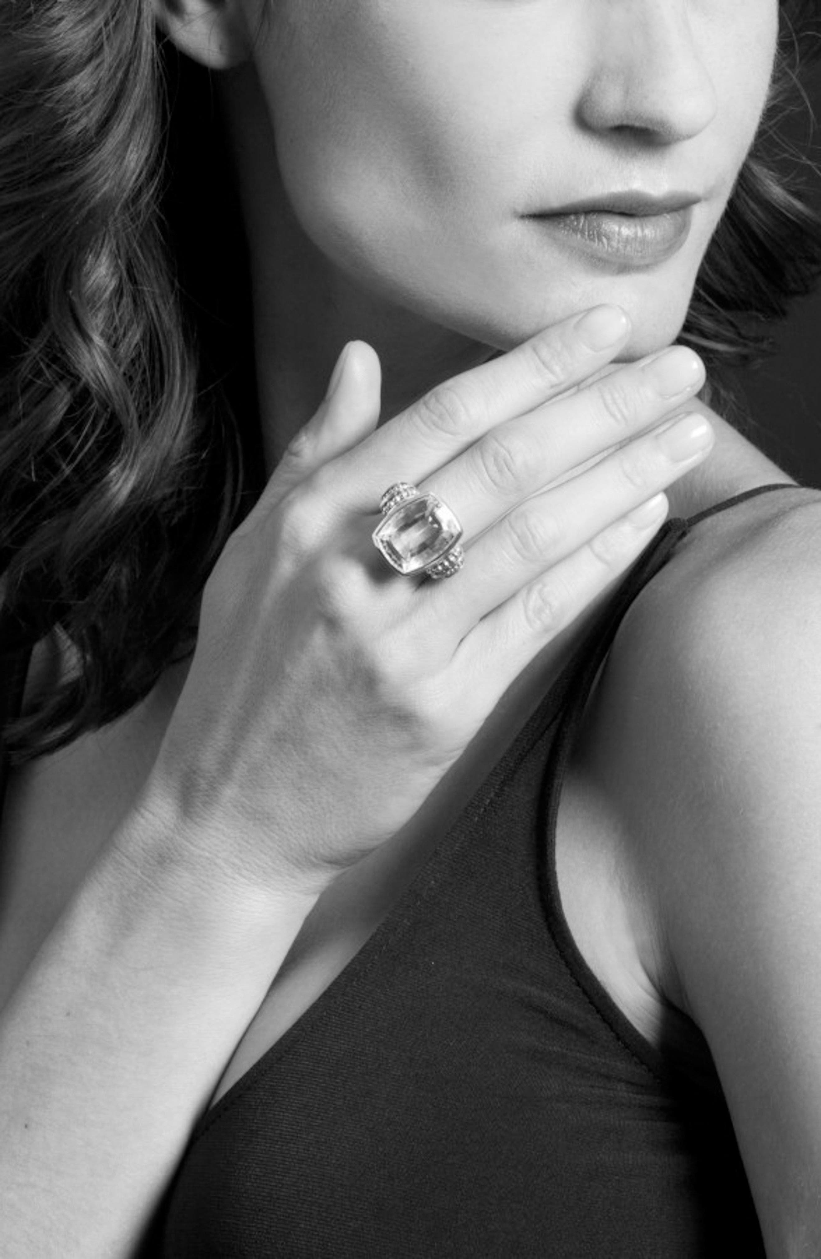 'Caviar Color' Large Semiprecious Stone Ring,                             Alternate thumbnail 5, color,                             Smokey Quartz