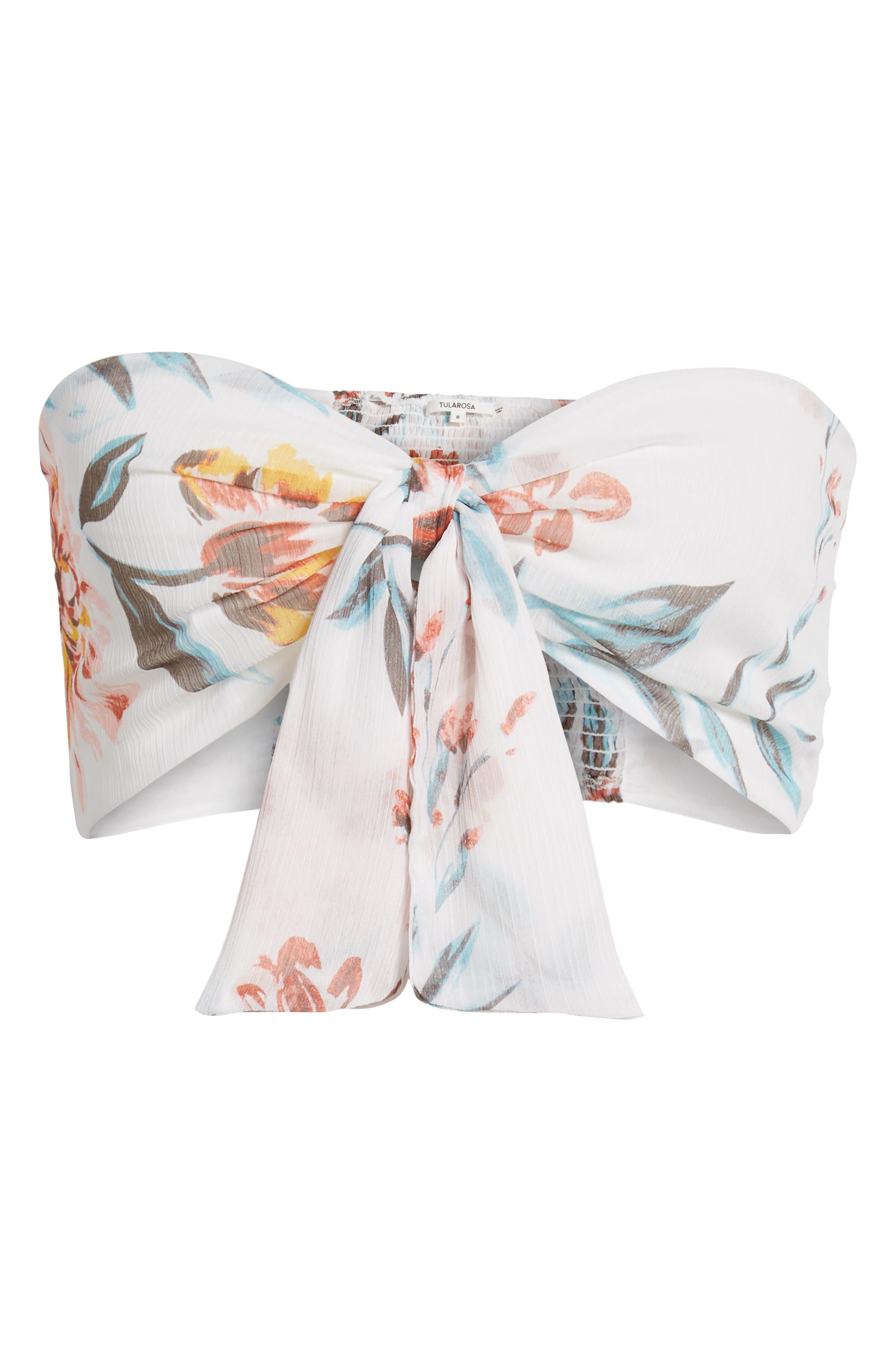 Margaret Tie Front Crop Top,                             Alternate thumbnail 7, color,                             Dahlia Floral