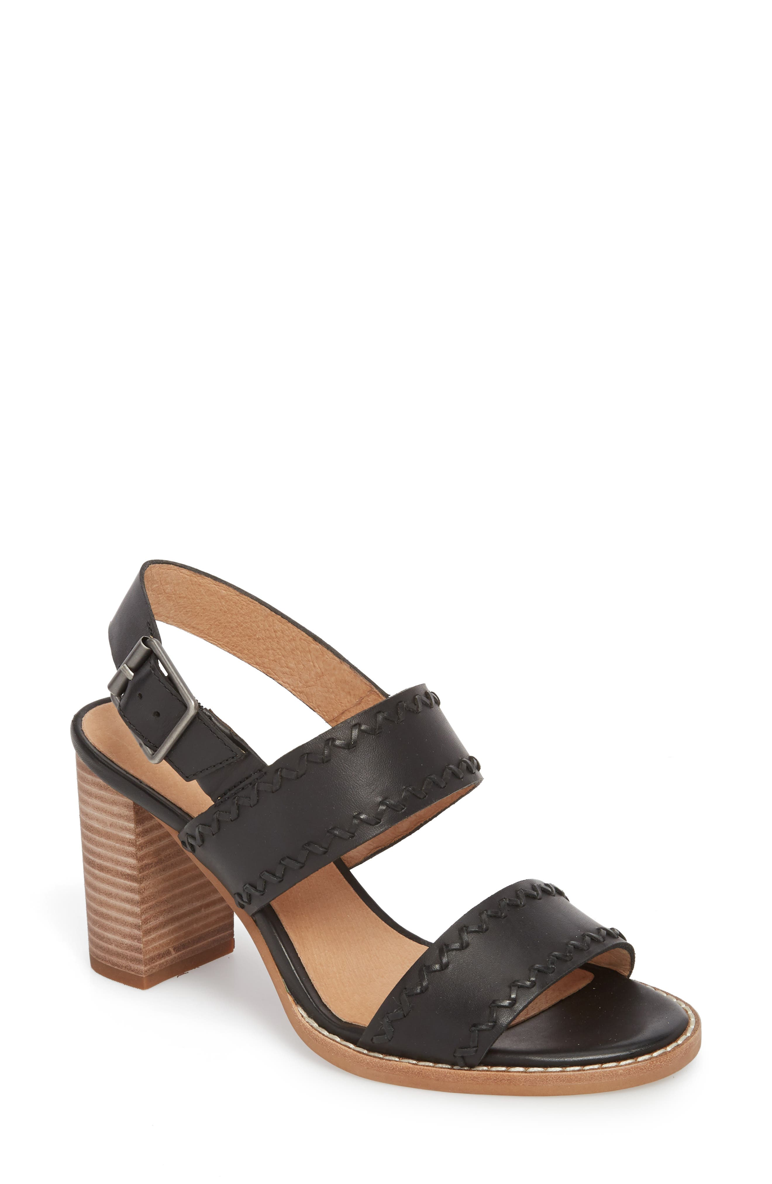 Giana Sandal,                         Main,                         color, True Black Leather