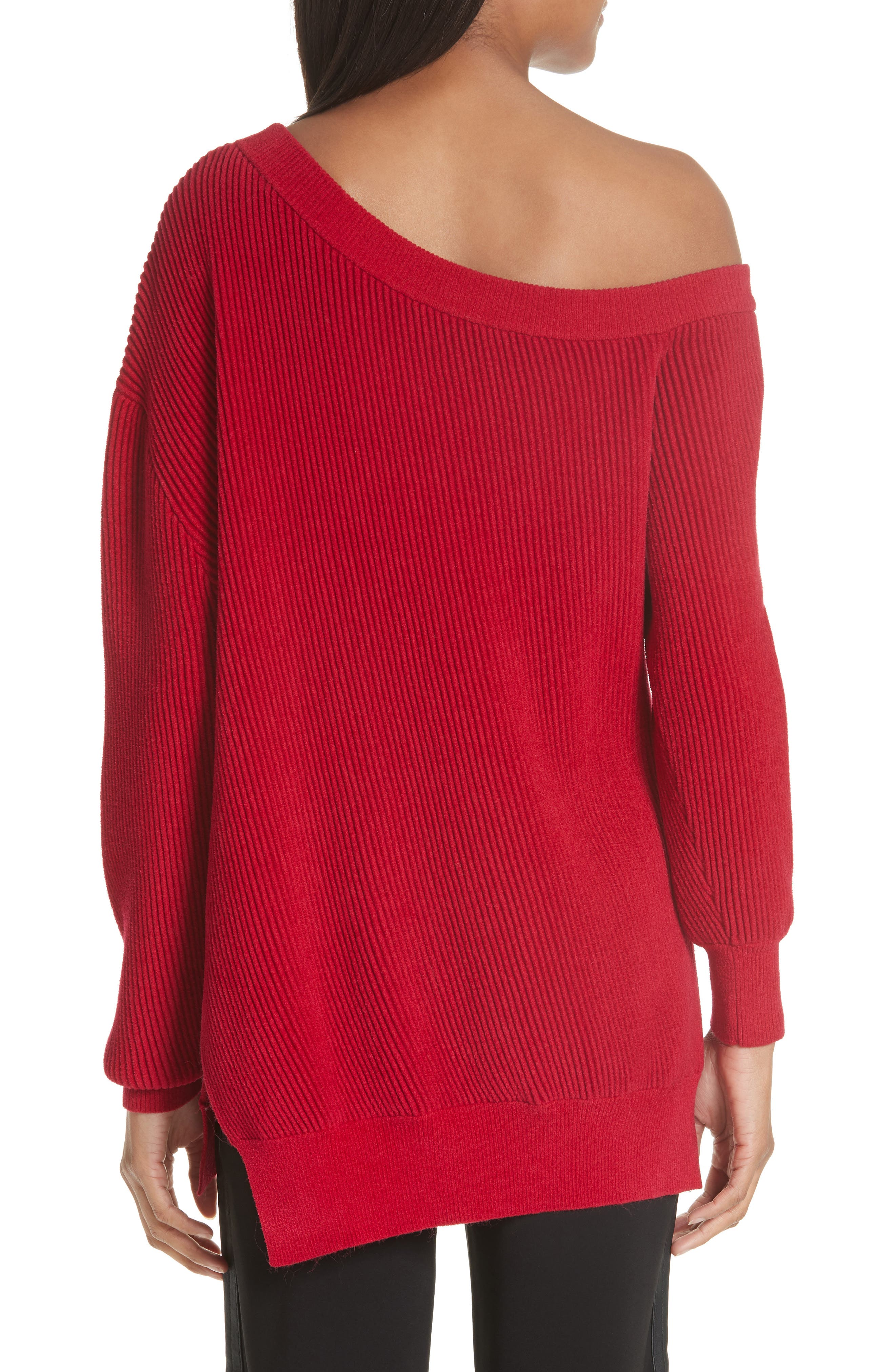 One-Shoulder Sweater,                             Alternate thumbnail 2, color,                             Cardinal-Red
