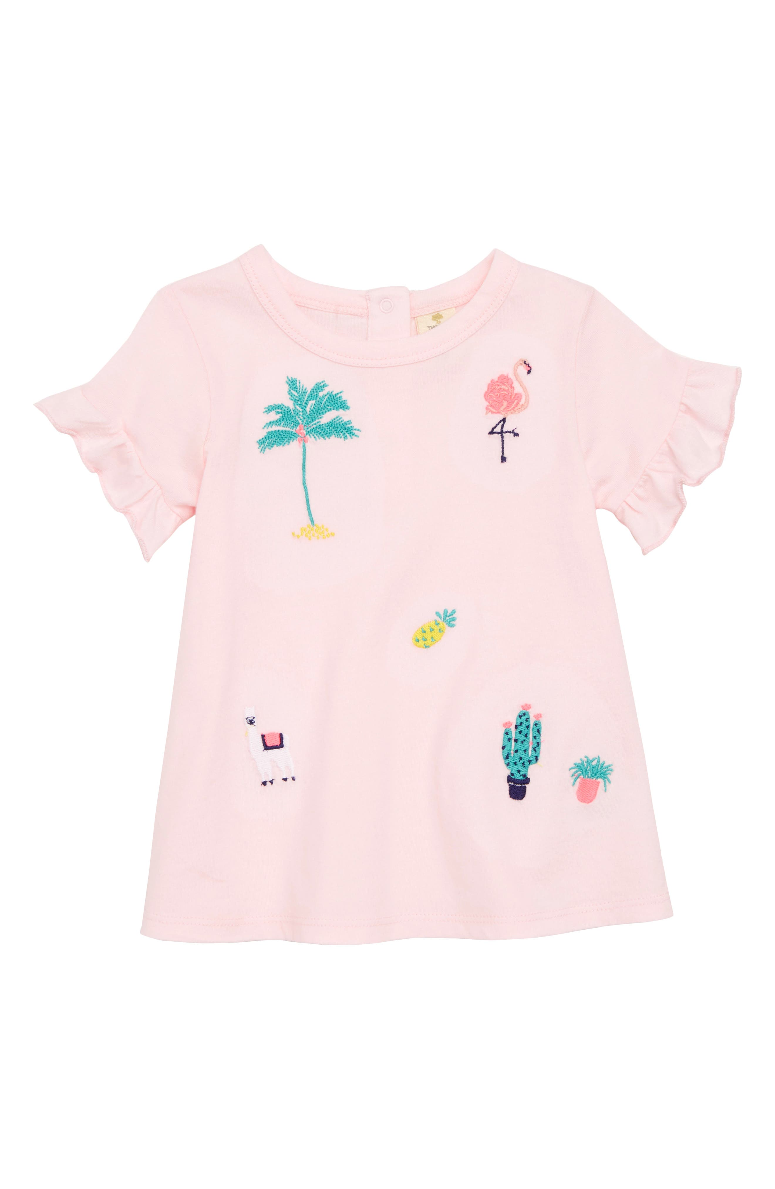Tucker + Tate Embroidered Flutter Sleeve Tunic (Baby Girls)