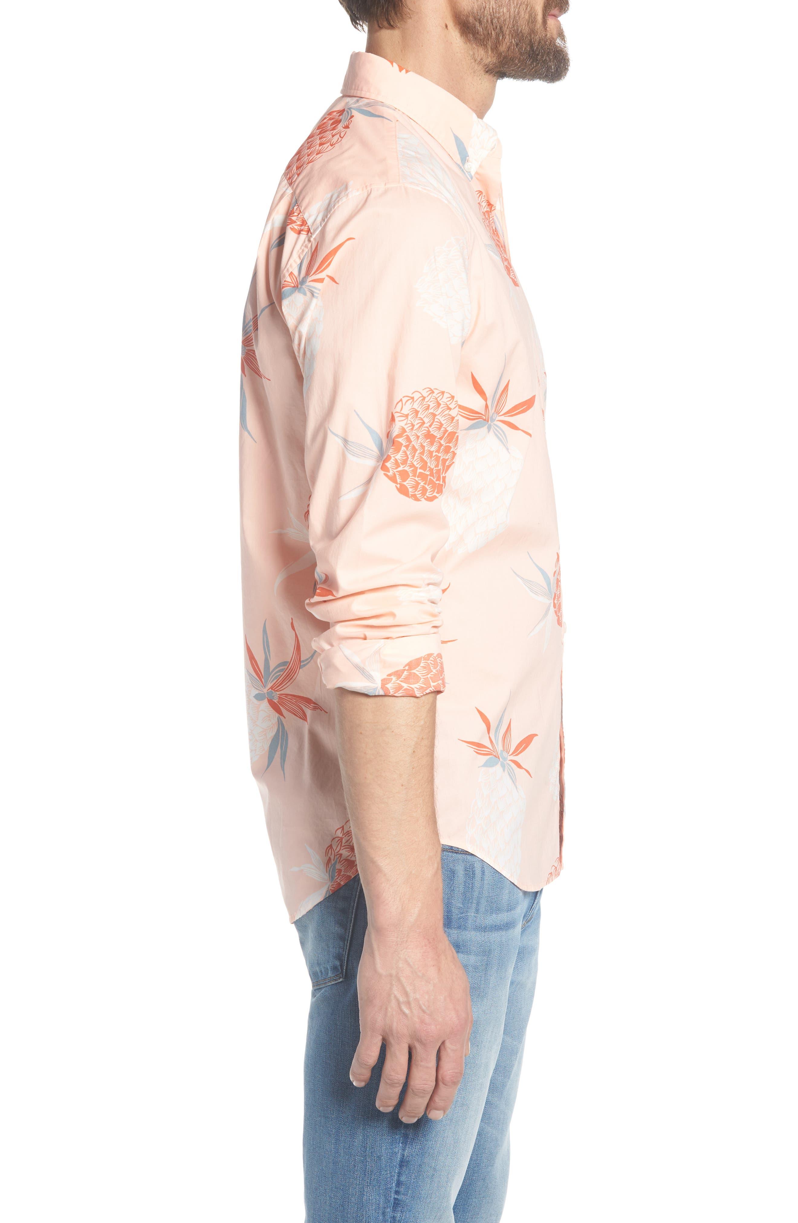 Summerweight Slim Fit Print Sport Shirt,                             Alternate thumbnail 4, color,                             Pineapple Party - Peach Melba