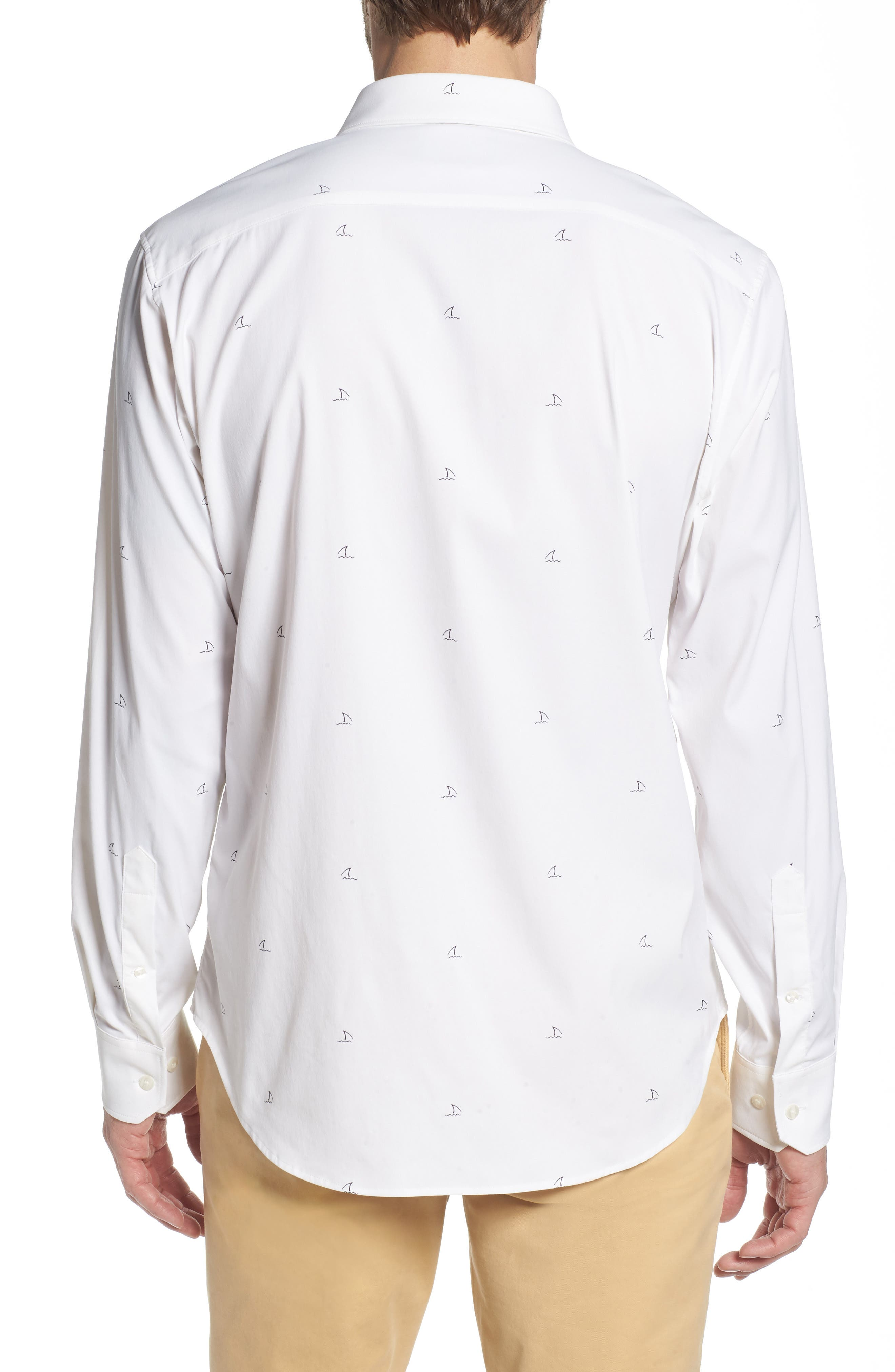 Slim Fit Shark Fin Print Performance Sport Shirt,                             Alternate thumbnail 4, color,                             Shark Fin - White