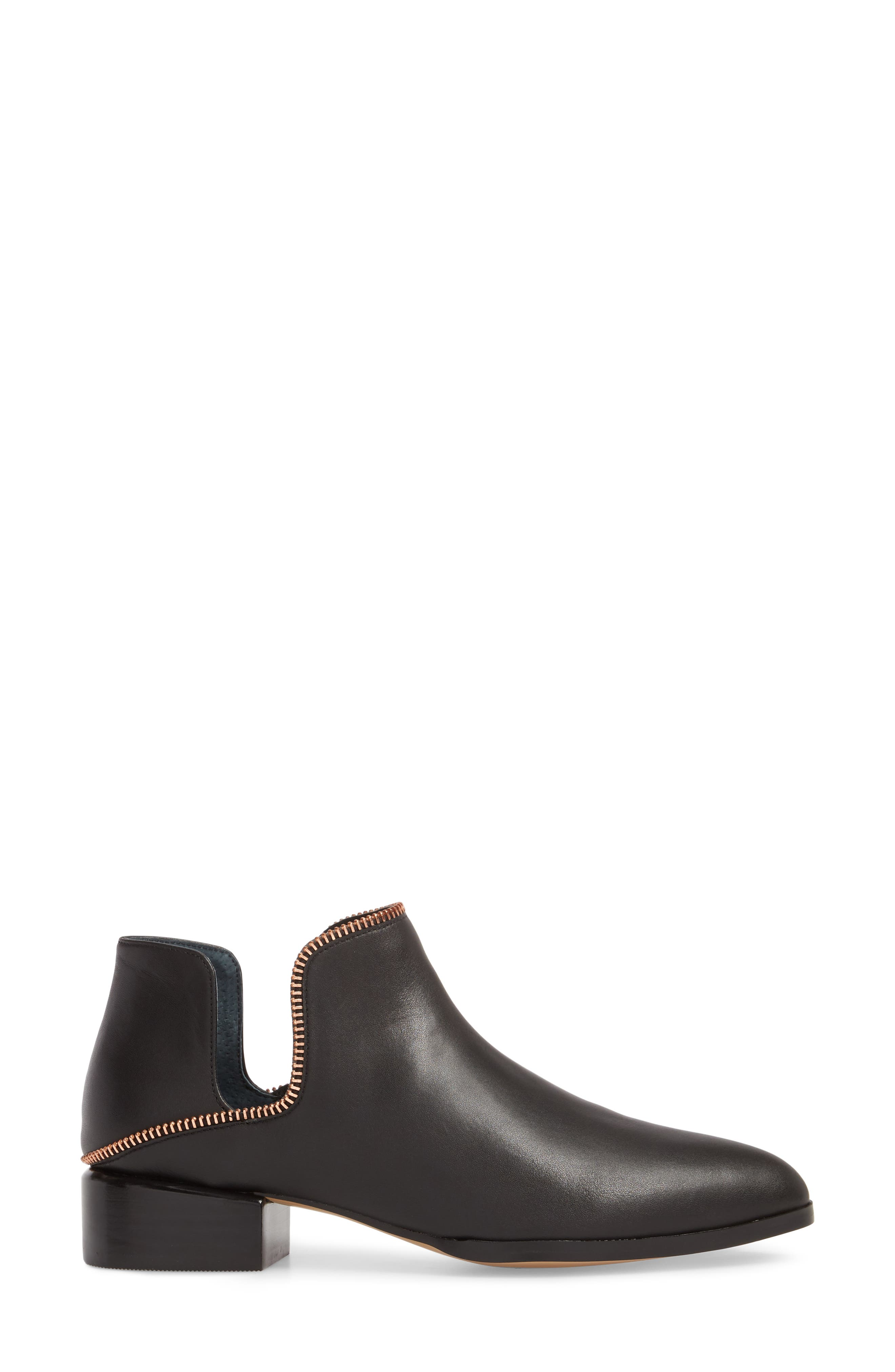 Piper Bootie,                             Alternate thumbnail 3, color,                             Black Leather/ Rosegold