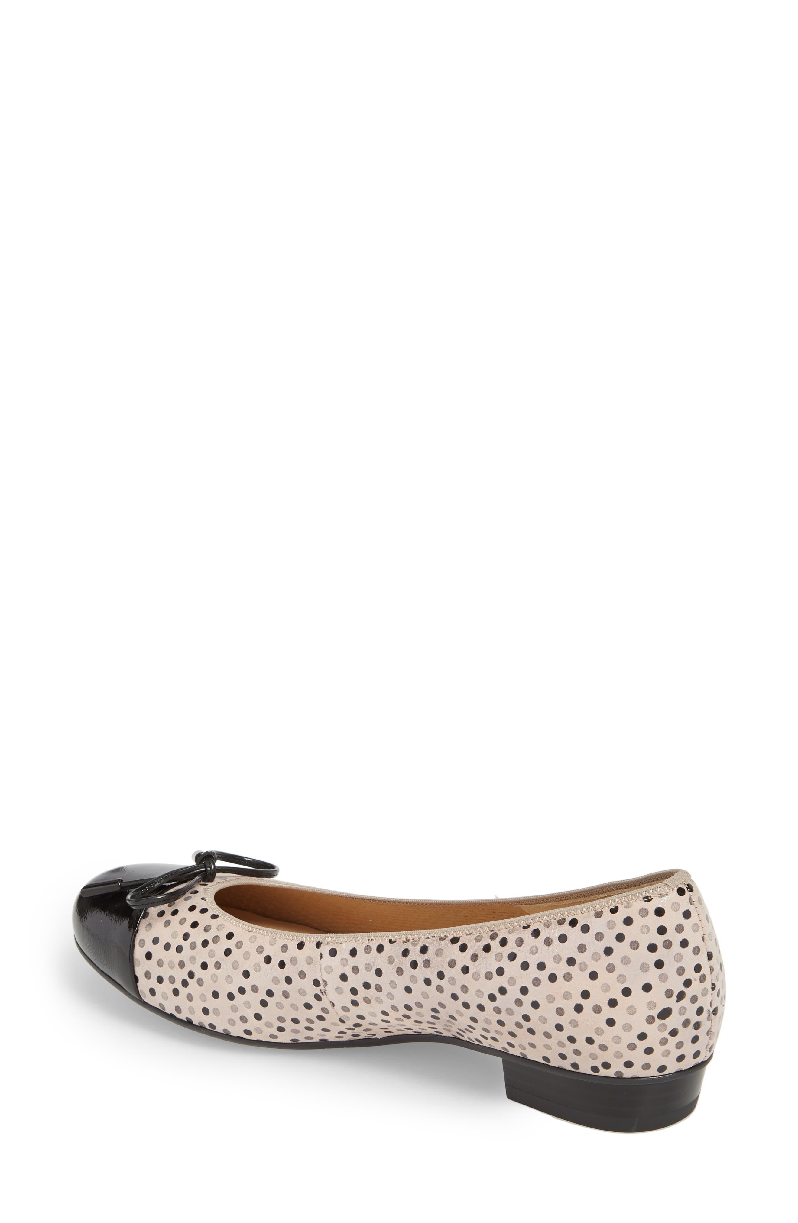 'Betty' Cap Toe Flat,                             Alternate thumbnail 2, color,                             Black Polka Dot Leather