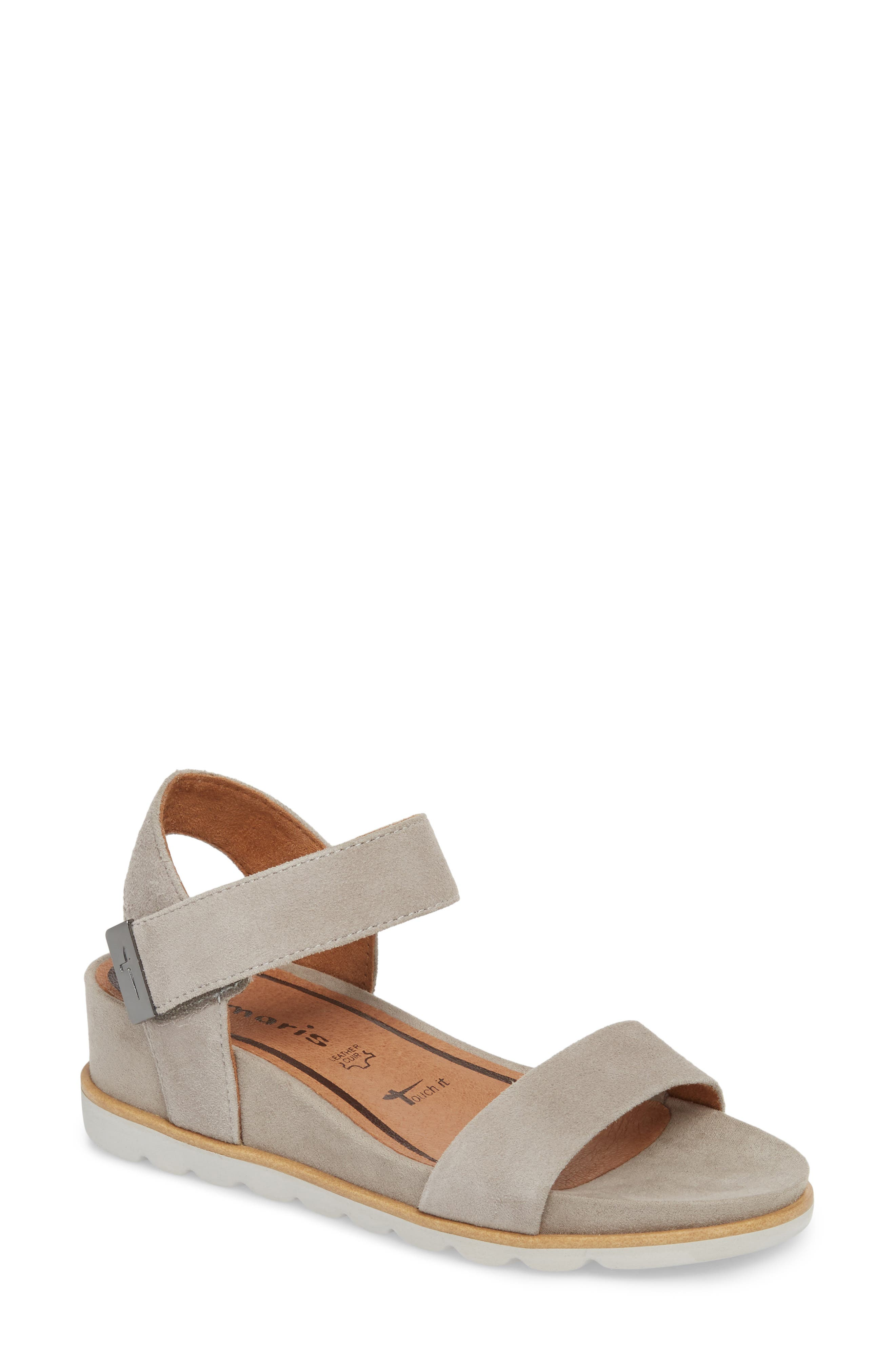 Cory Wedge Sandal,                         Main,                         color, Cloud Suede