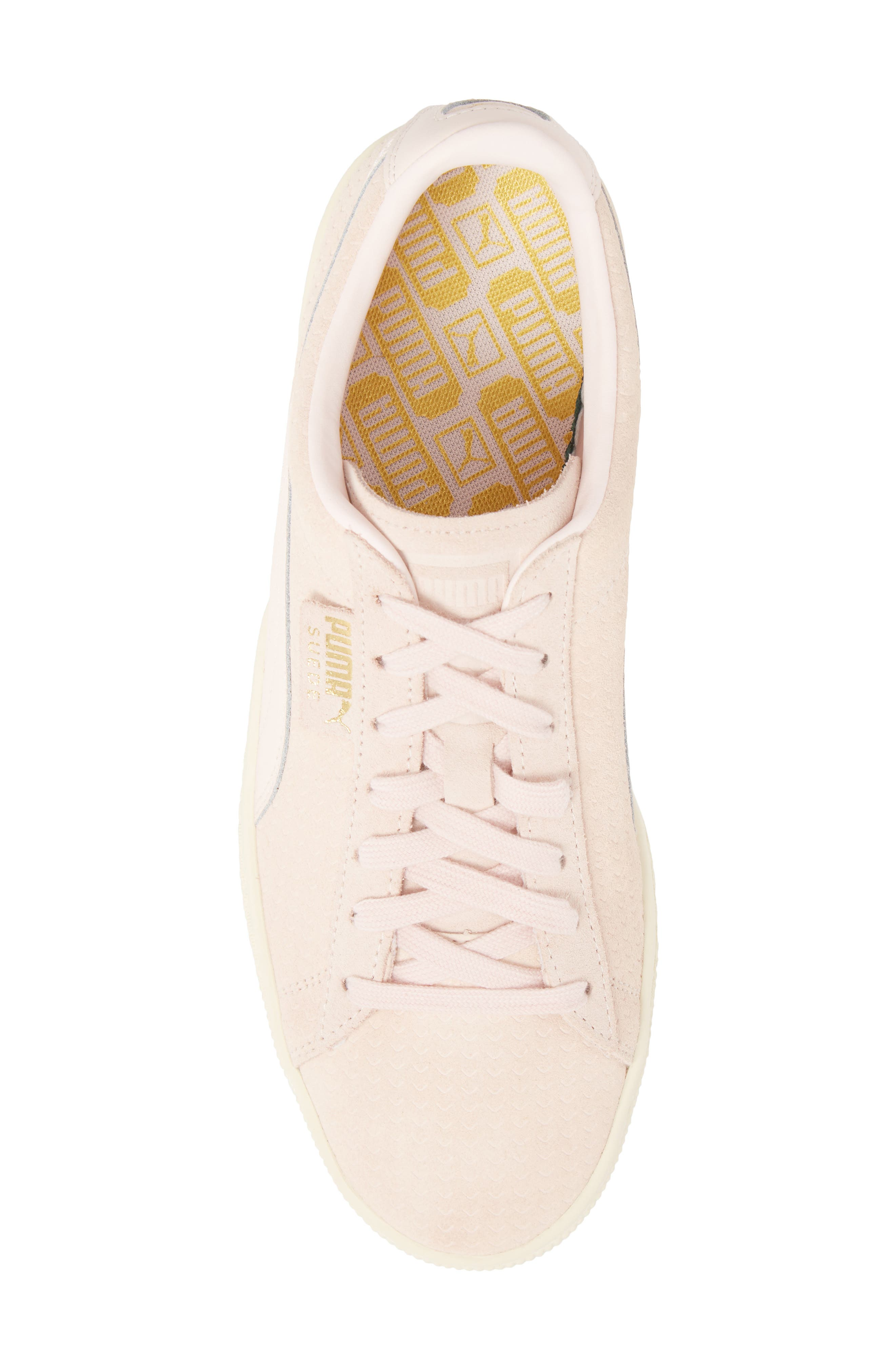 Suede Classic Perforation Sneaker,                             Alternate thumbnail 5, color,                             Pearl/ Whisper White Suede