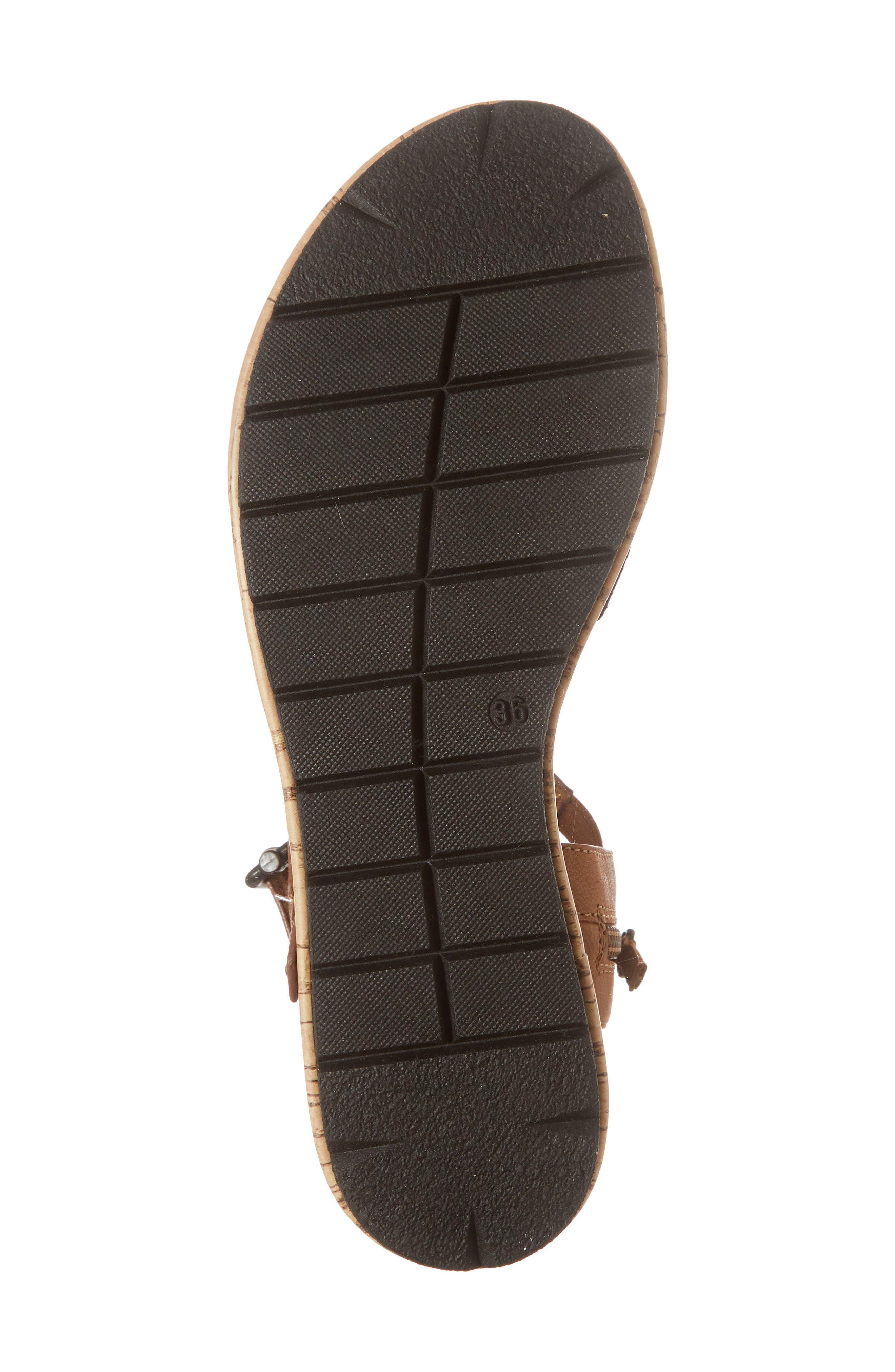 Eda Diagonal Strap Wedge Sandal,                             Alternate thumbnail 6, color,                             Navy/ Cognac Leather