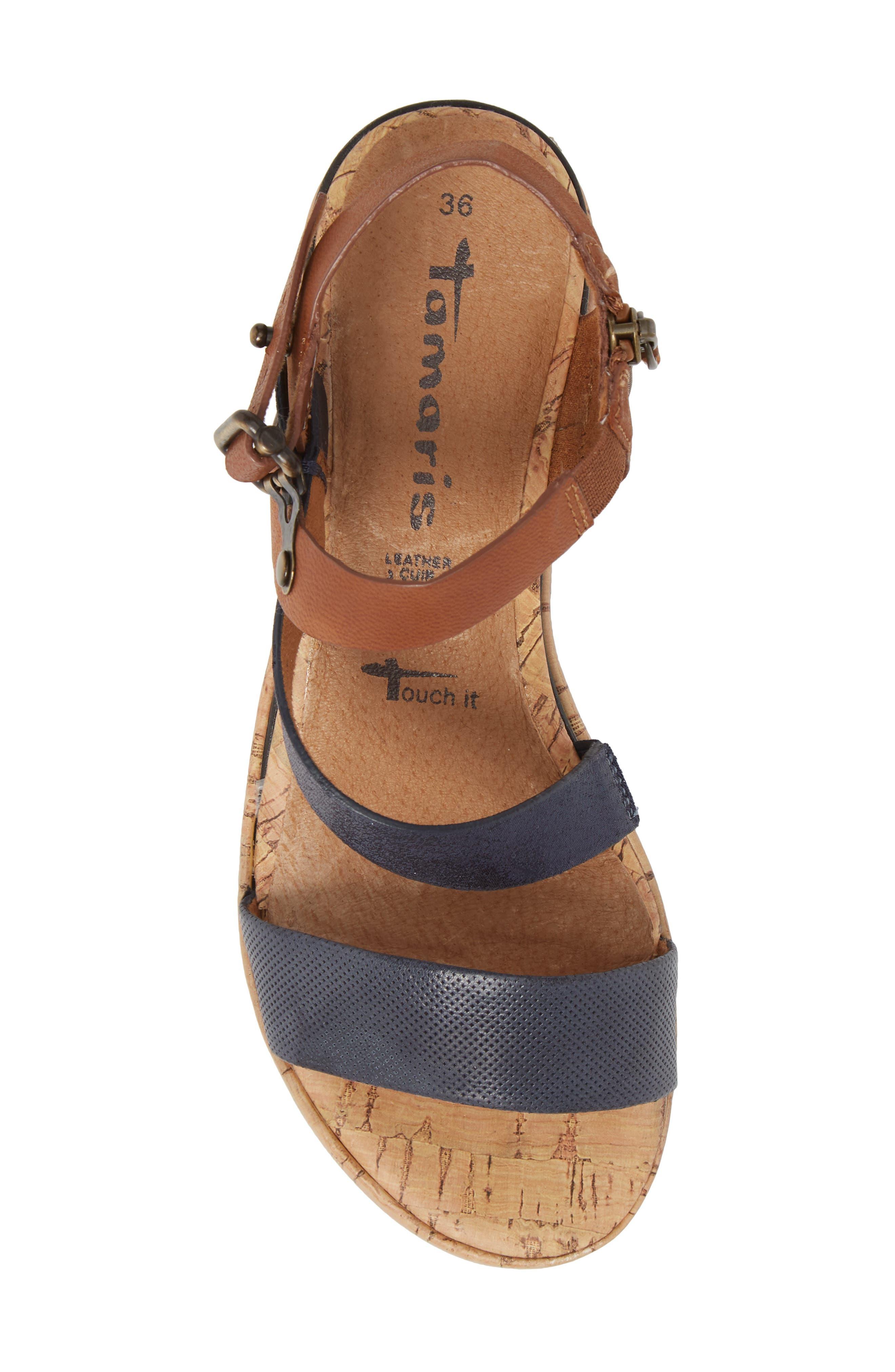 Eda Diagonal Strap Wedge Sandal,                             Alternate thumbnail 5, color,                             Navy/ Cognac Leather