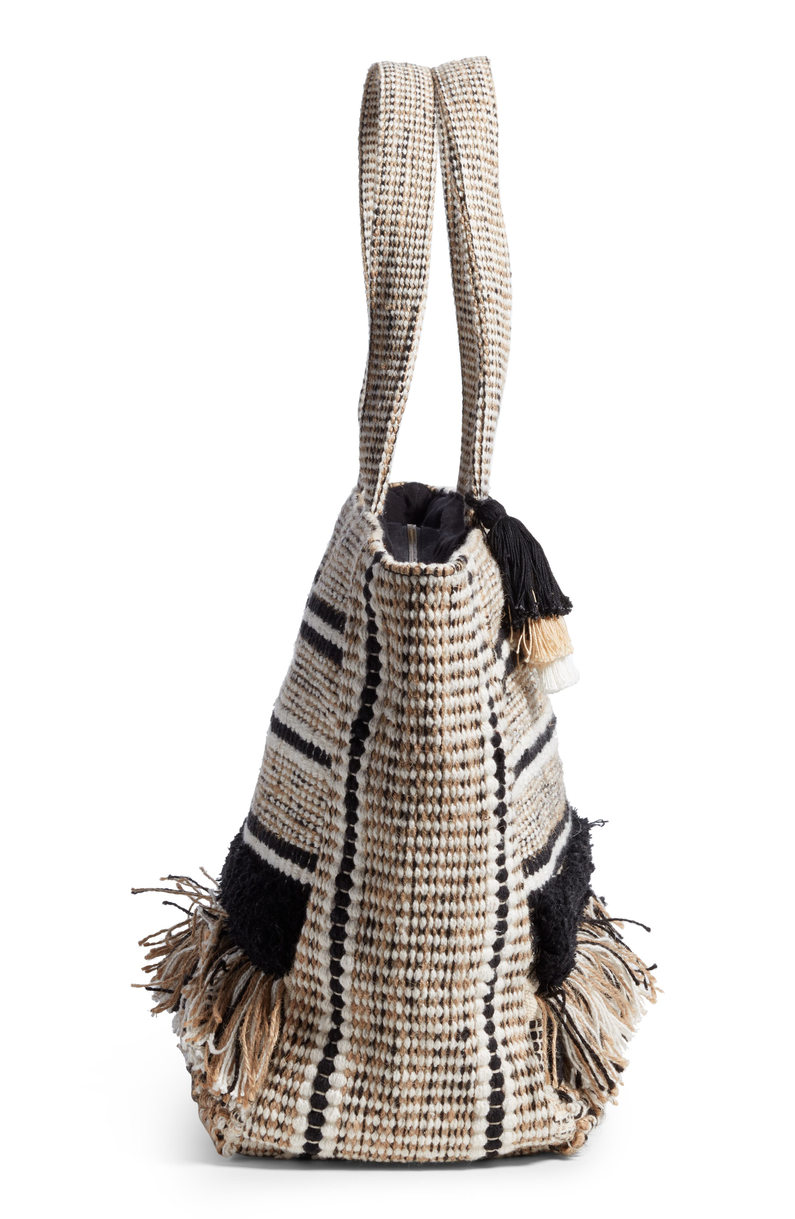 Carried Away Woven Weekend Tote,                             Alternate thumbnail 5, color,                             Black Sands