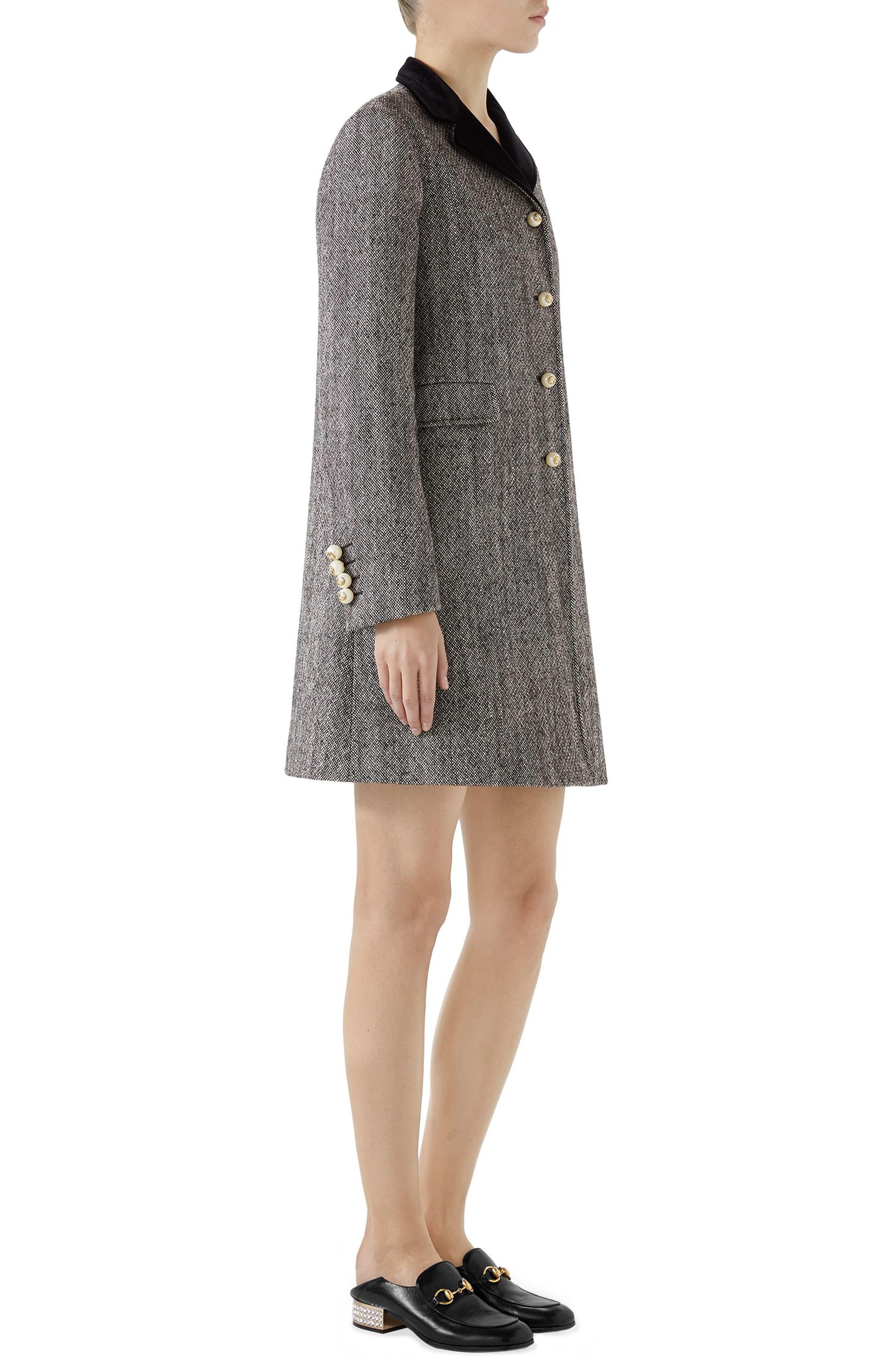 Velvet Collar Wool Blend Coat,                             Alternate thumbnail 3, color,                             Black/ Bone