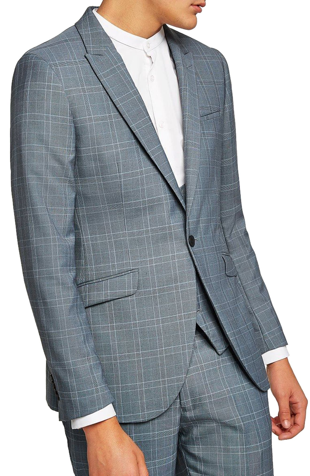 Skinny Fit Check Suit Jacket,                         Main,                         color, Blue Multi
