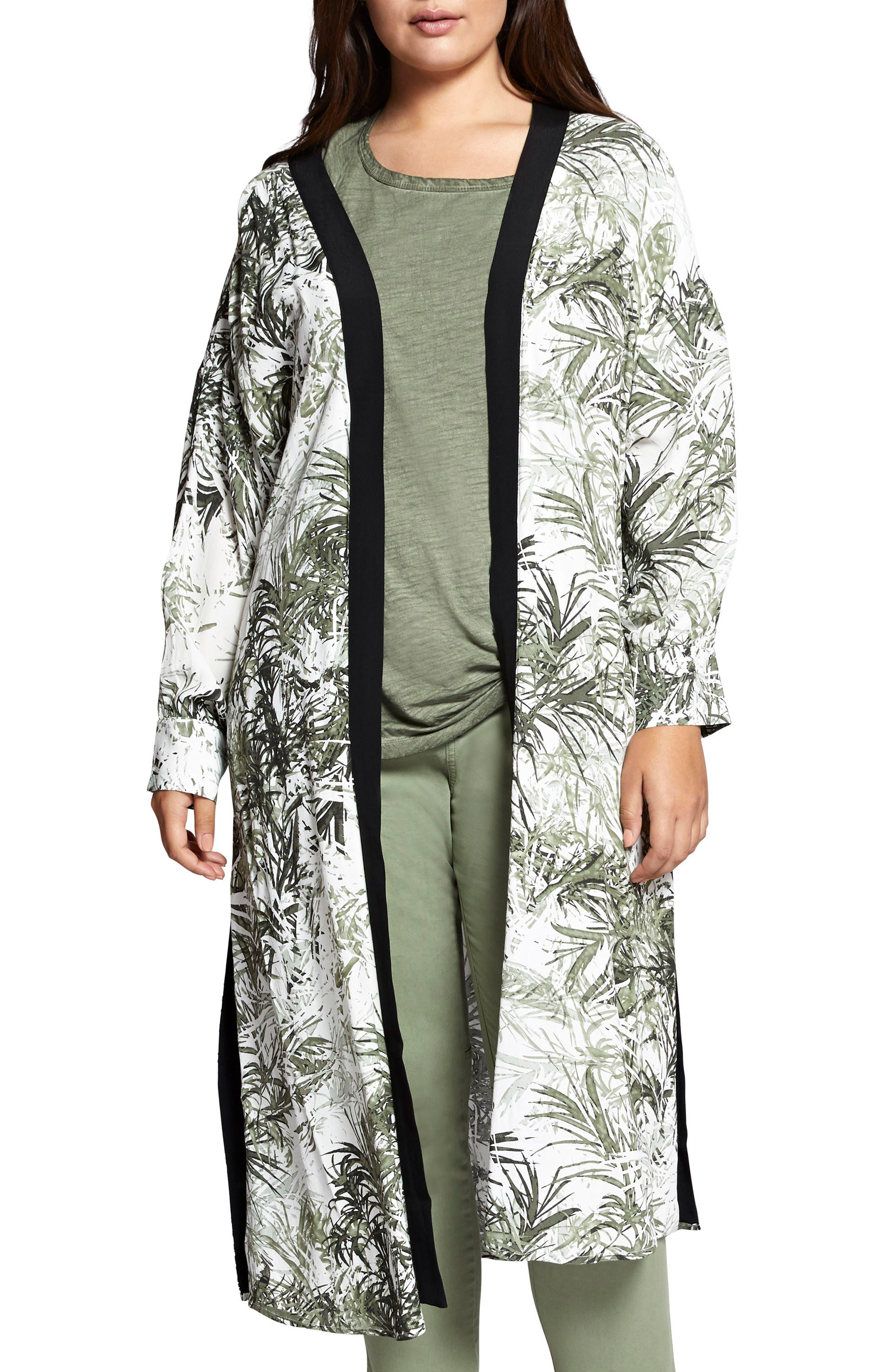 Calico Kimono,                             Main thumbnail 1, color,                             Tiki Palm