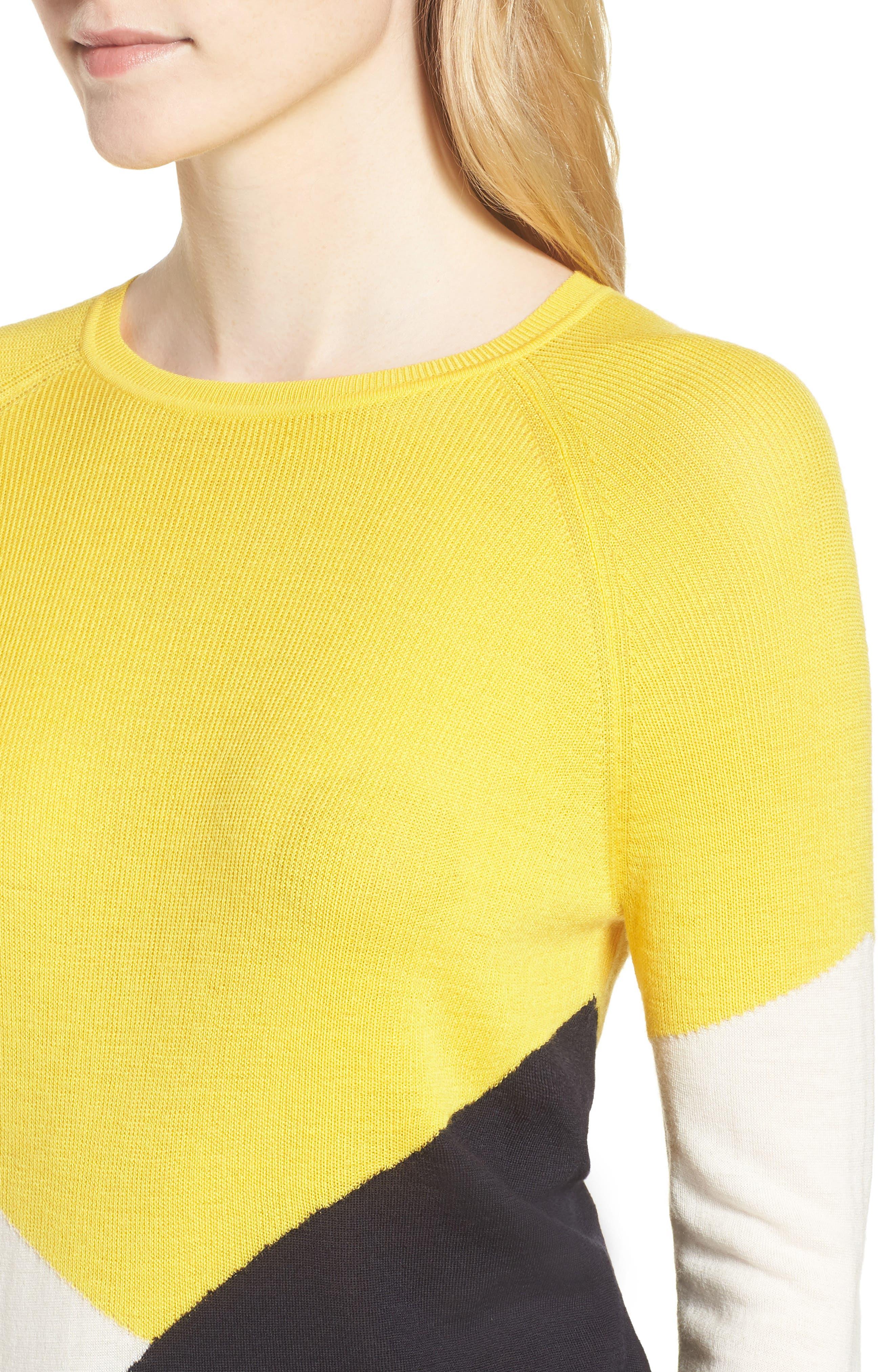 Farrow Colorblock Wool Sweater,                             Alternate thumbnail 4, color,                             Sun Yellow Fantasy