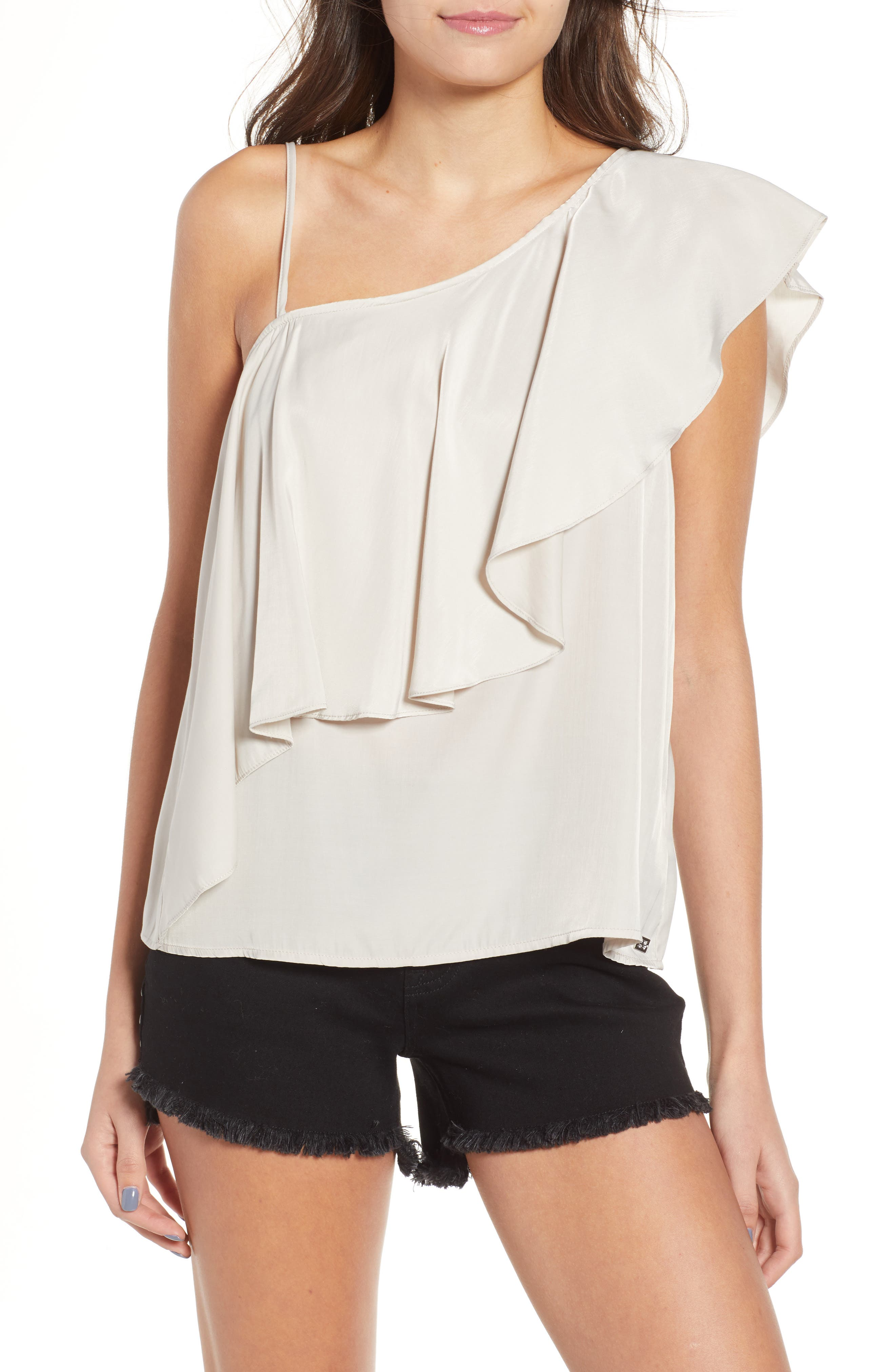 Hangin Ruff One-Shoulder Top,                         Main,                         color, Light Grey