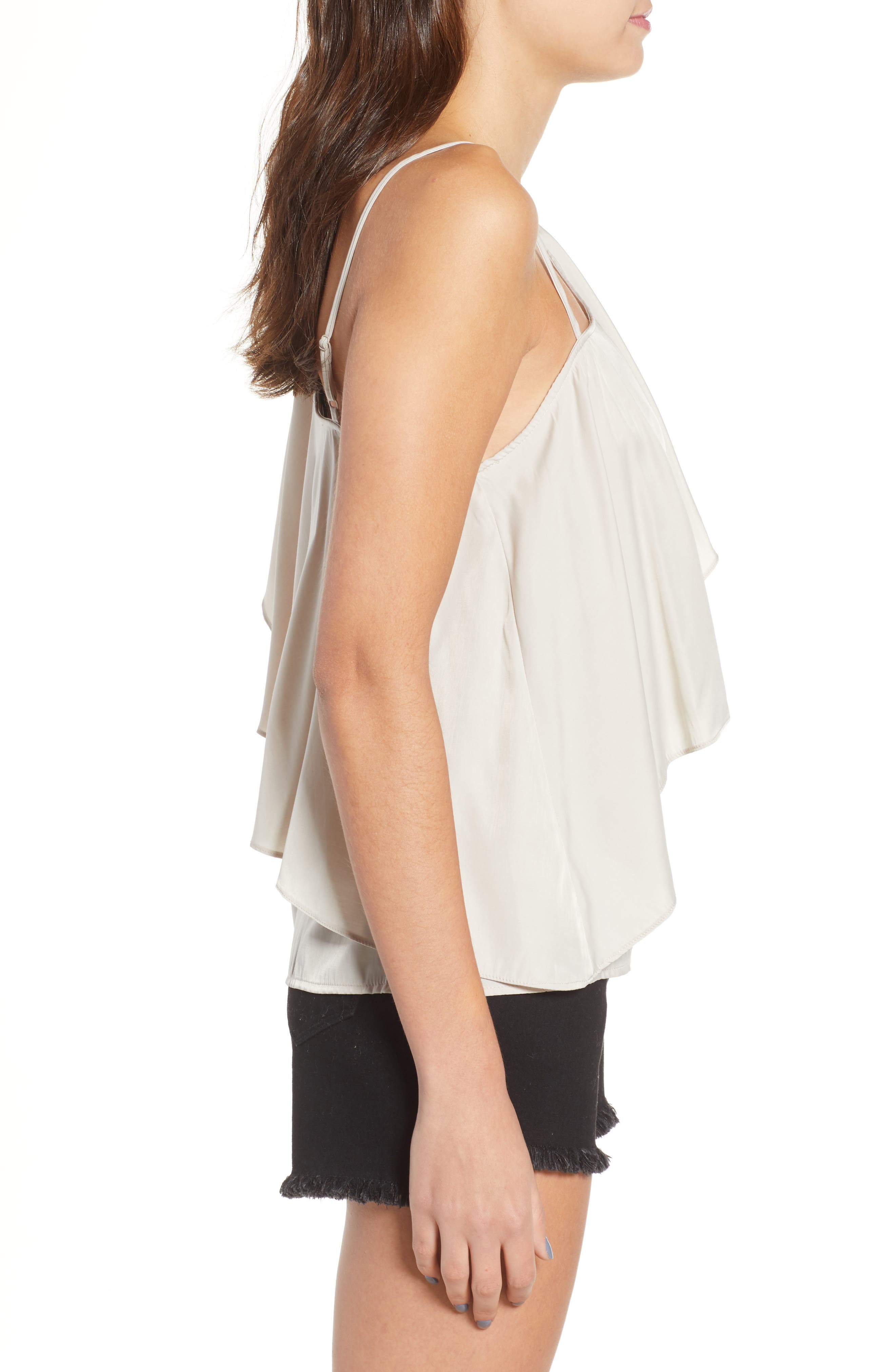 Hangin Ruff One-Shoulder Top,                             Alternate thumbnail 3, color,                             Light Grey