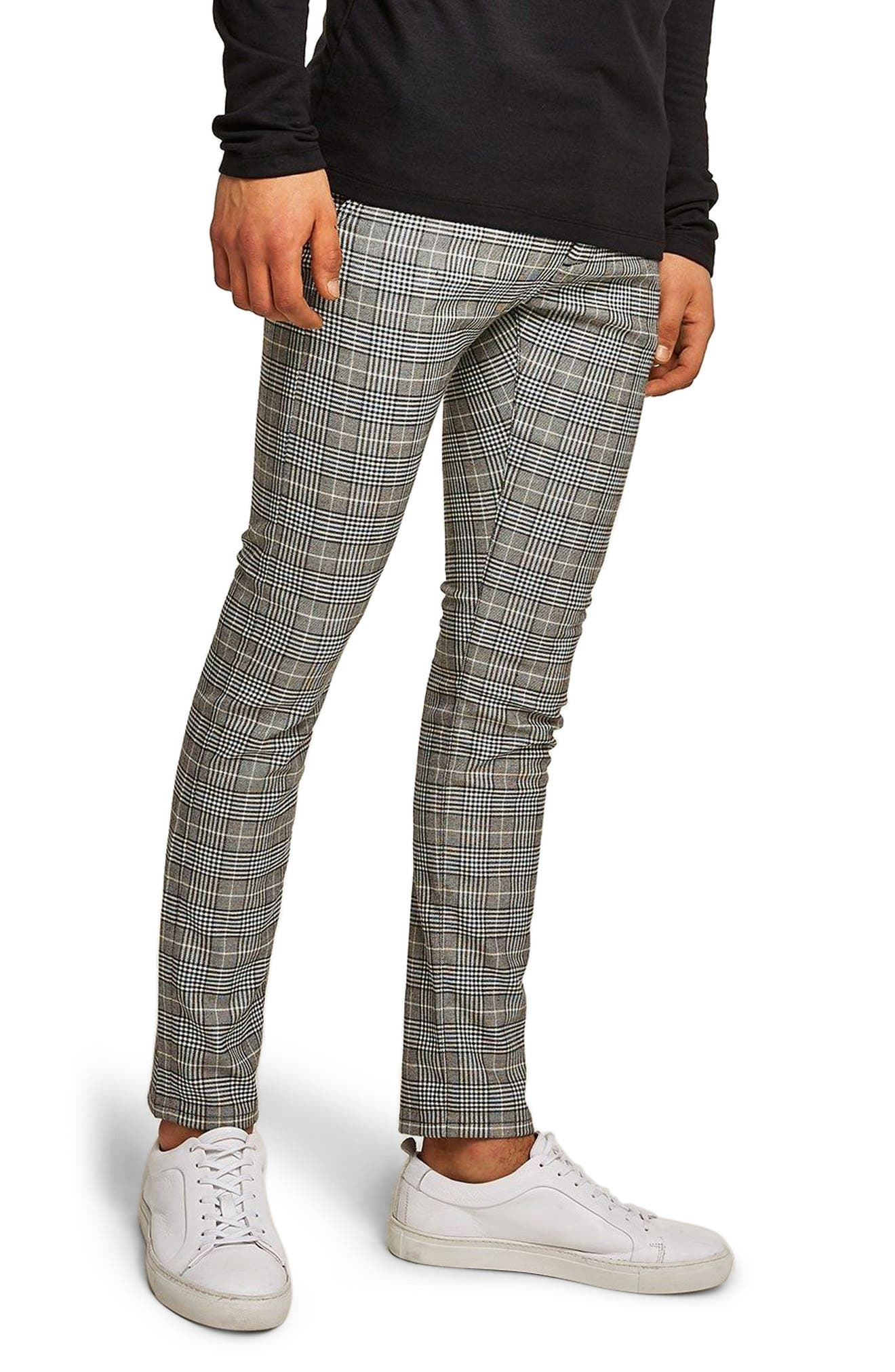 Stretch Skinny Fit Check Chinos,                         Main,                         color, Grey Multi