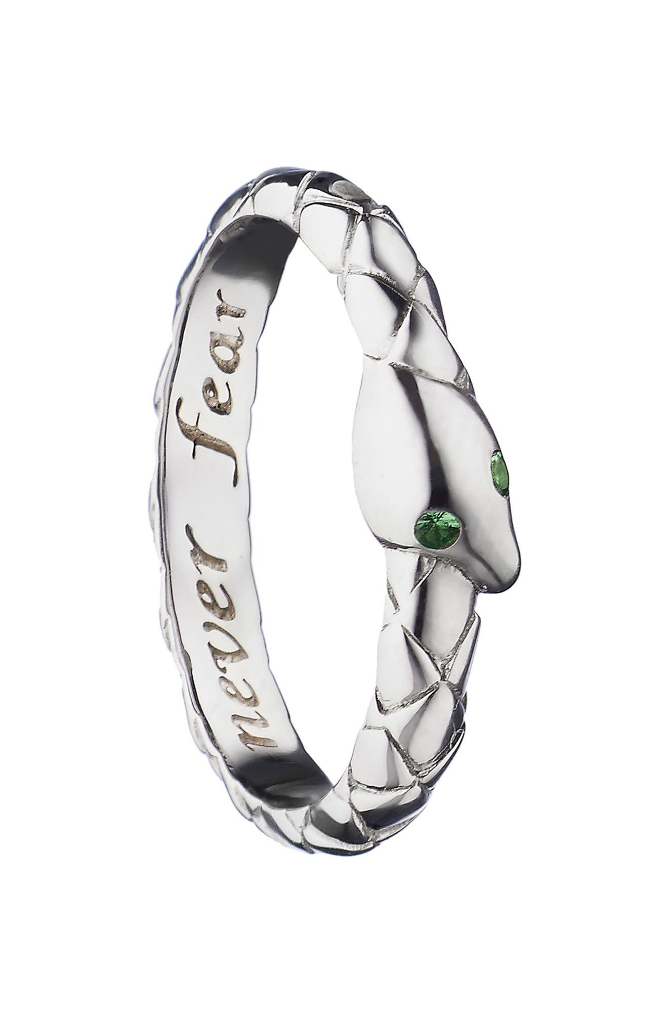 Never Fear Snake Poesy Ring Charm,                             Main thumbnail 1, color,                             Sterling Silver