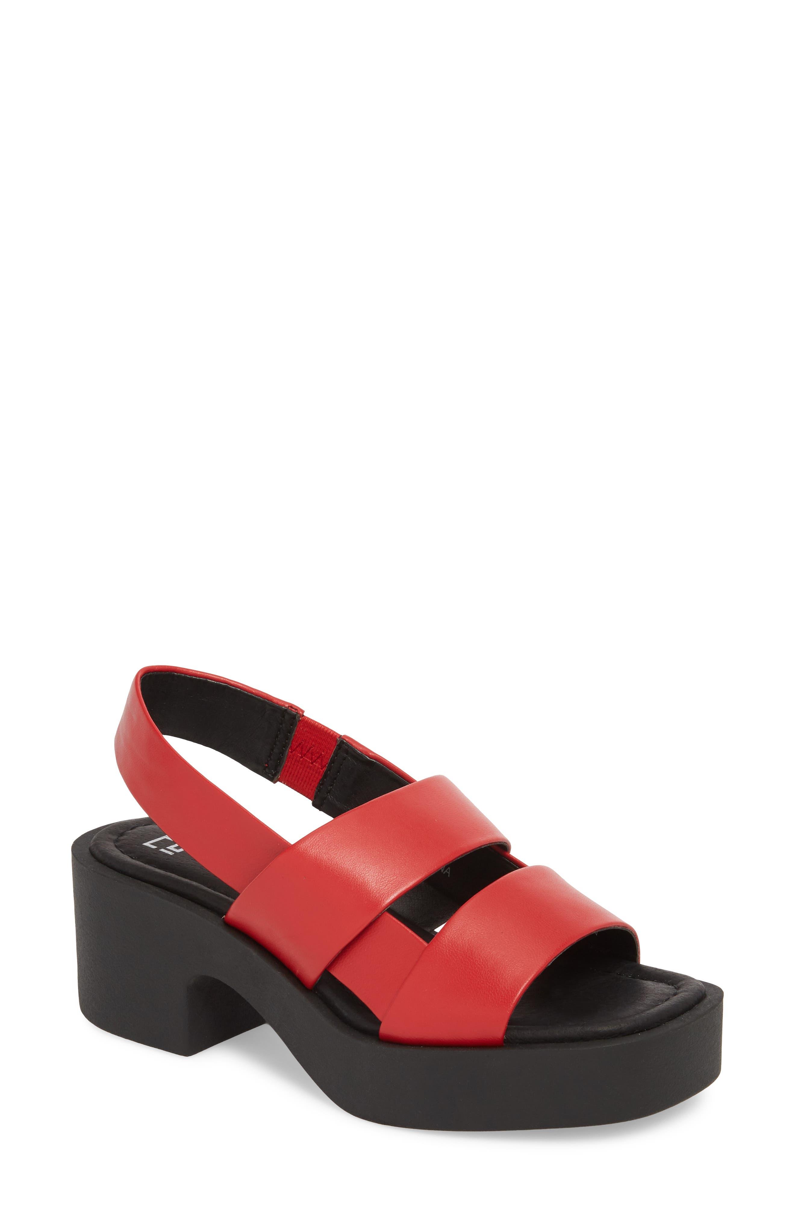 Hazel Slingback Sandal,                             Main thumbnail 1, color,                             Red Leather