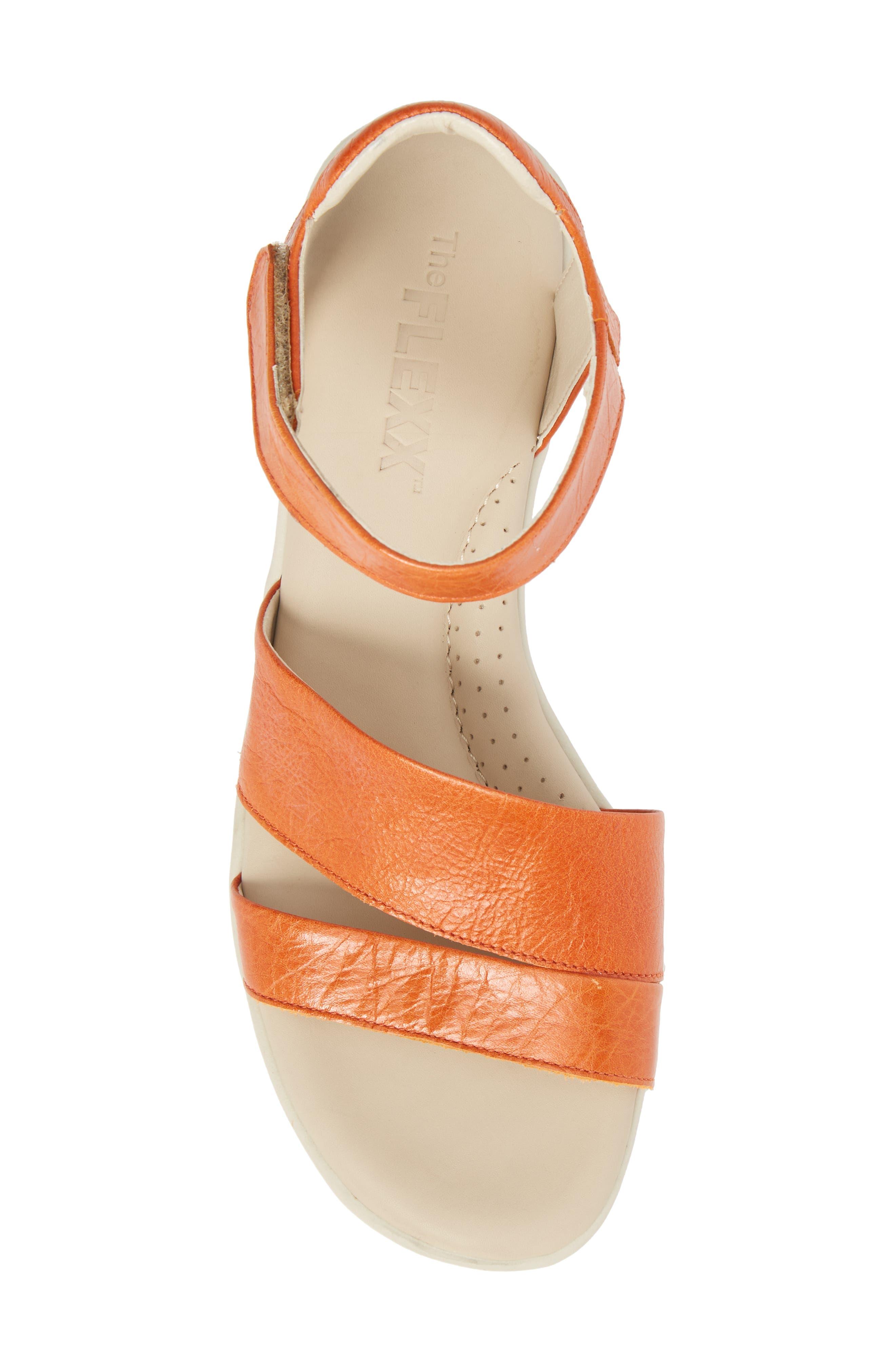 Crossover Ankle Strap Sandal,                             Alternate thumbnail 5, color,                             Mandarin Leather