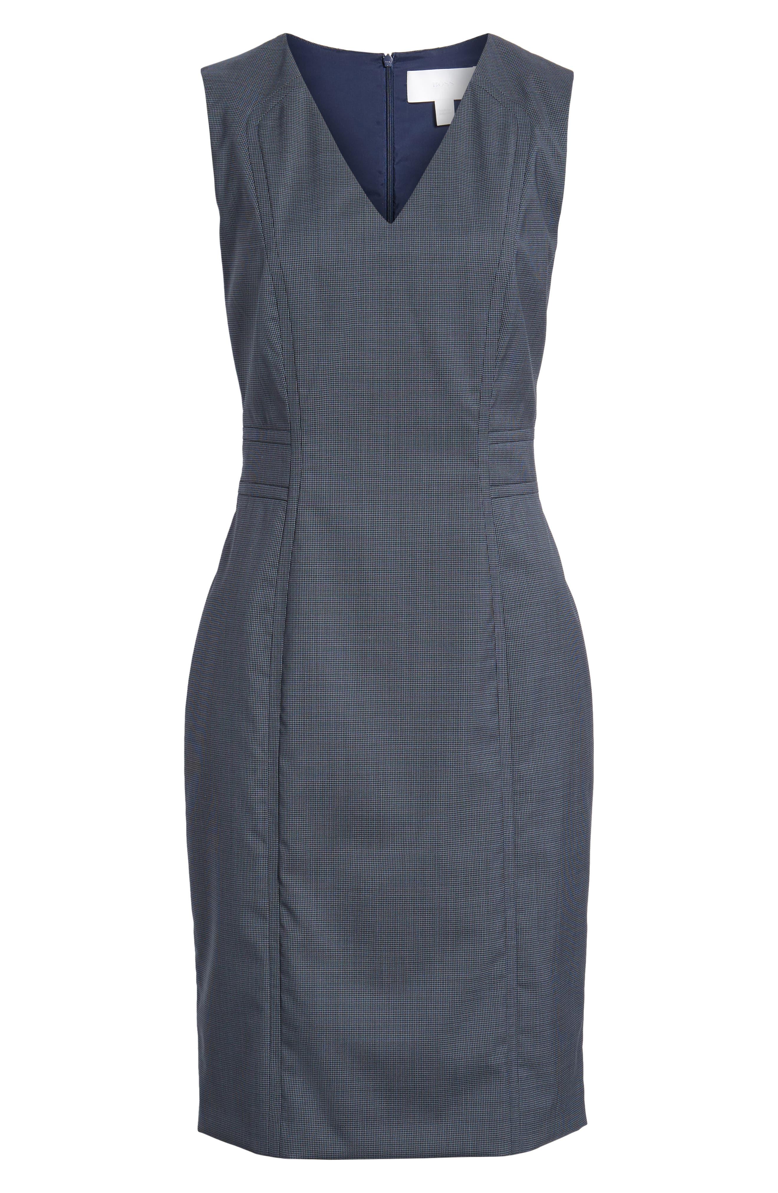 Dalouise Pepita Stretch Wool Sheath Dress,                             Alternate thumbnail 6, color,                             Nautic Blue Fantasy