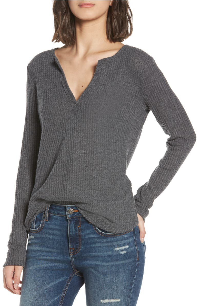 Thermal Henley Top,                         Main,                         color, Heather/ Charcoal