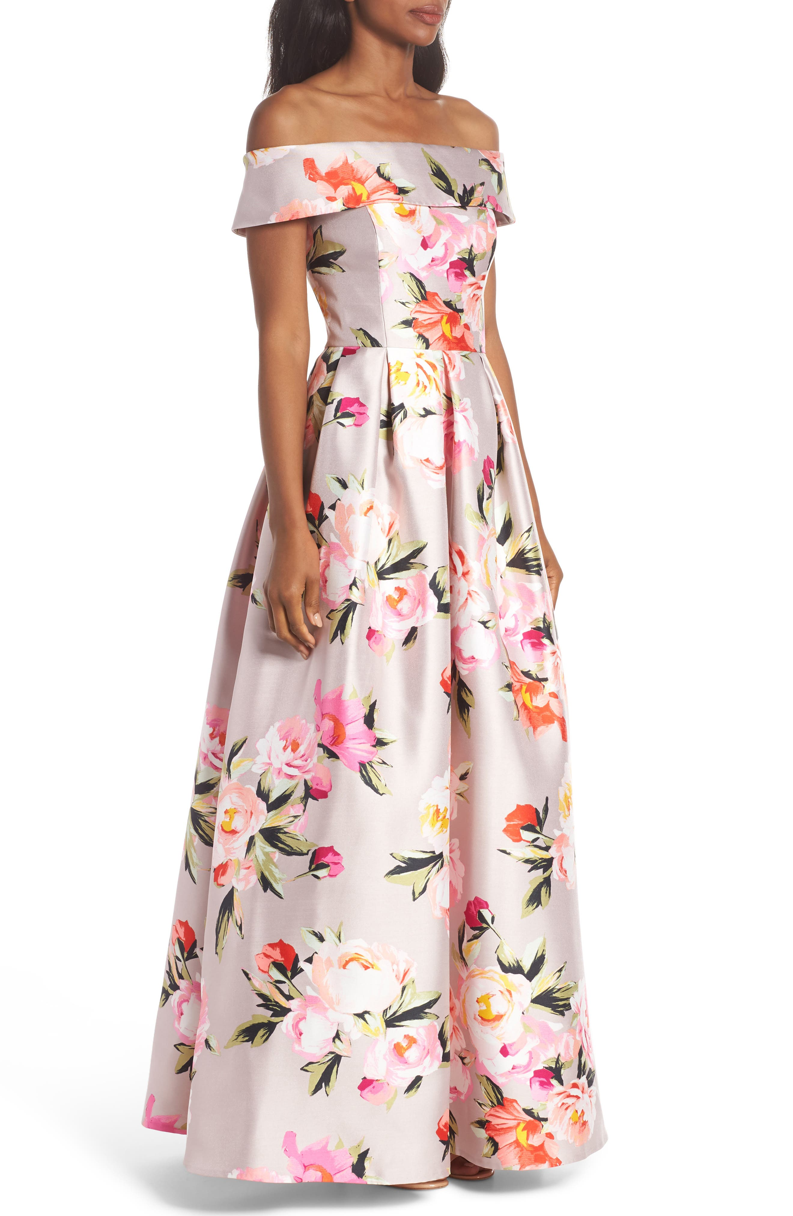 Floral Off the Shoulder Mikado Gown,                             Alternate thumbnail 4, color,                             Blush