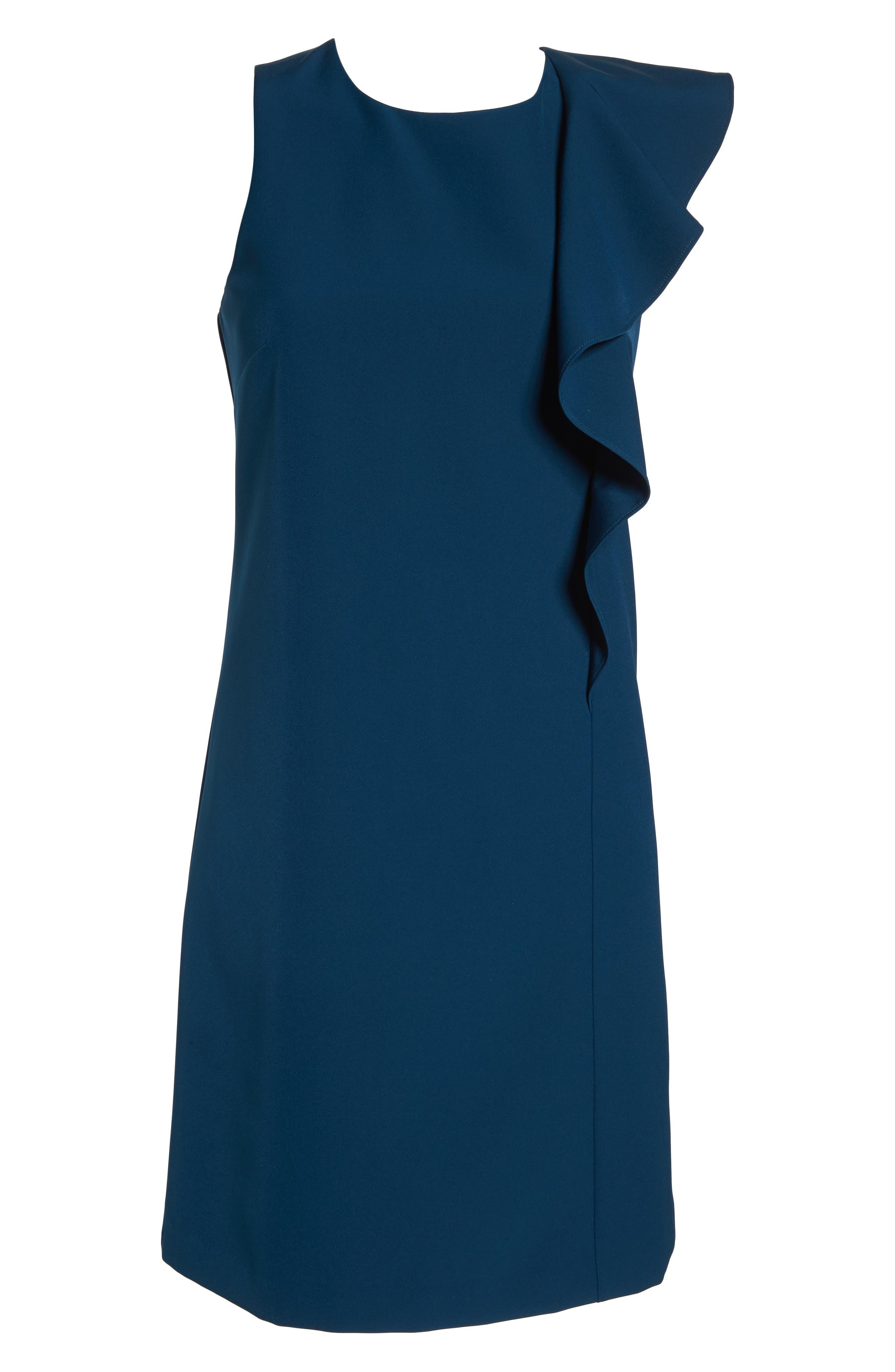 Ruffle Crepe A-Line Dress,                             Alternate thumbnail 7, color,                             Deep Teal