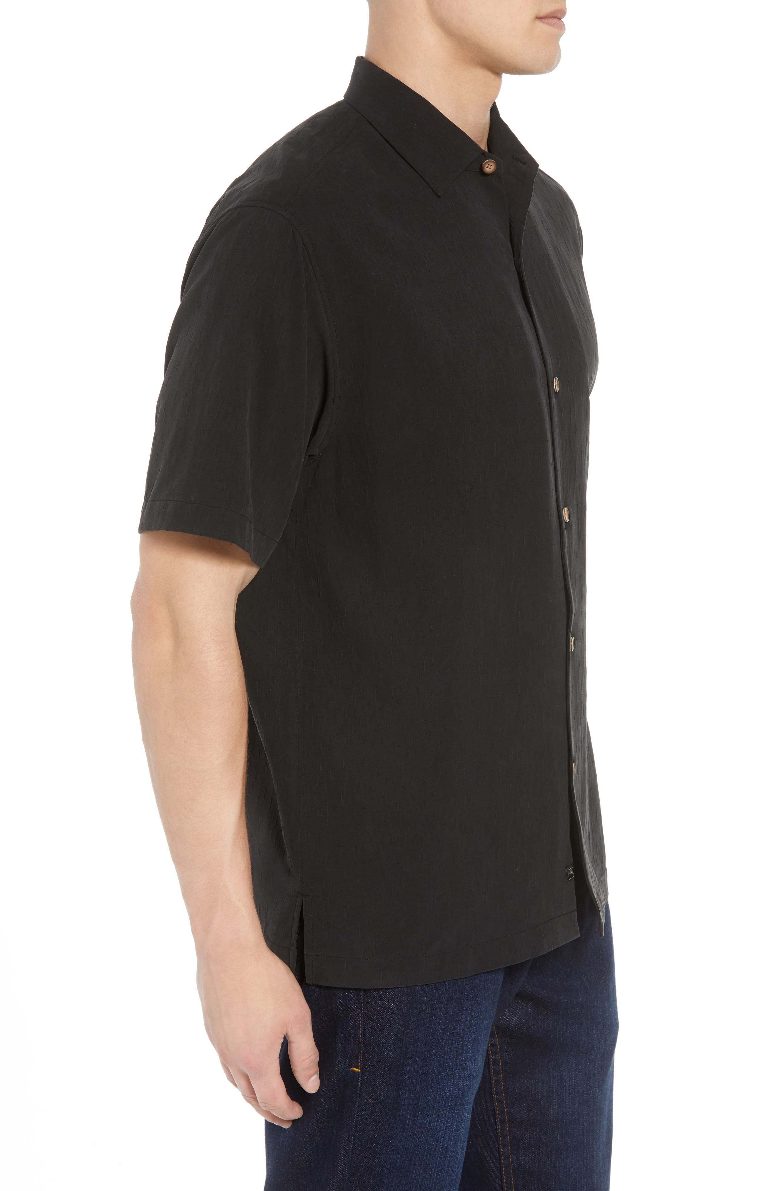 Bahama Reserve Silk Camp Shirt,                             Alternate thumbnail 4, color,                             Black