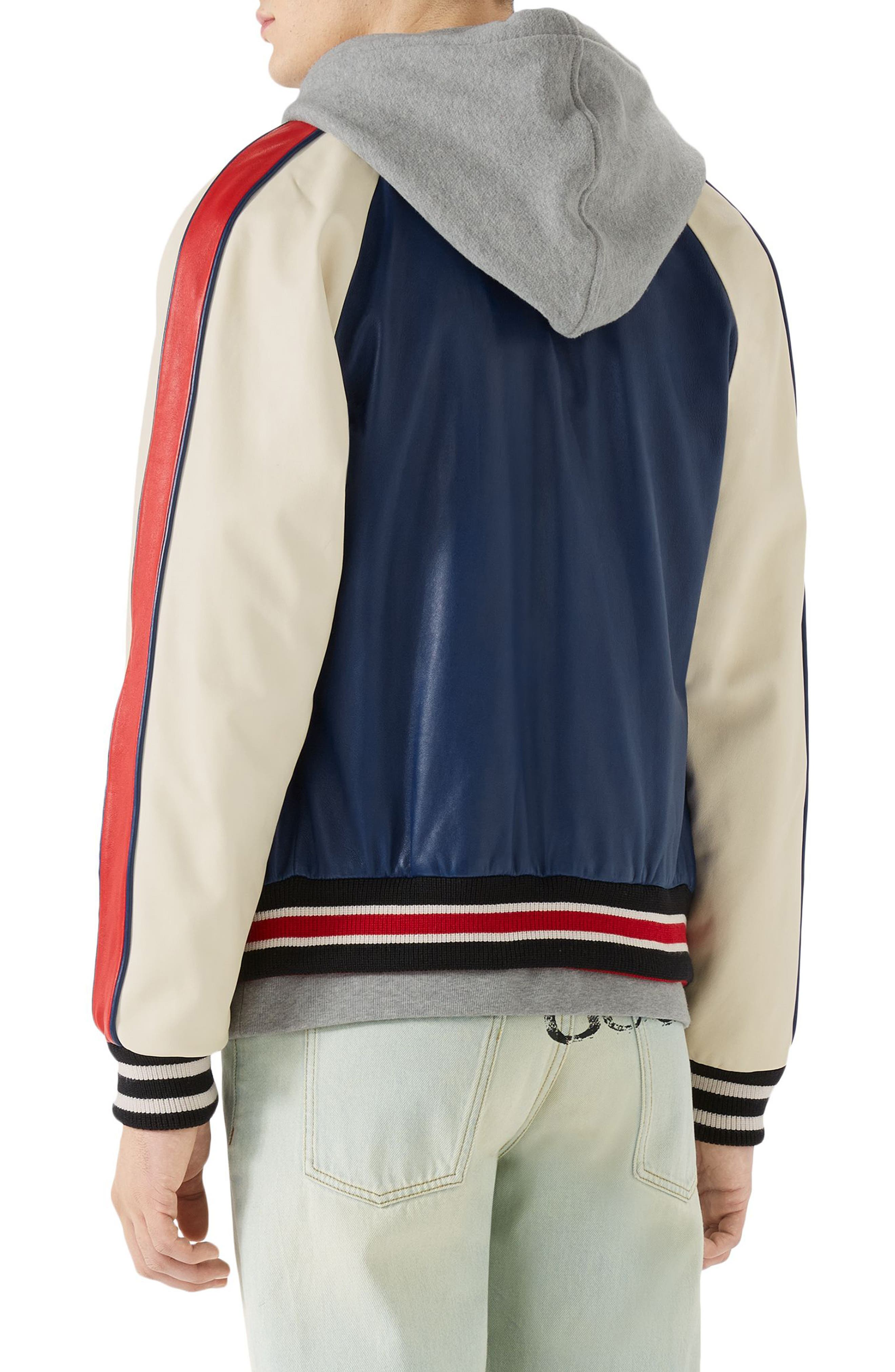 Multicolor Leather Bomber Jacket,                             Alternate thumbnail 2, color,                             Cobalt Blue