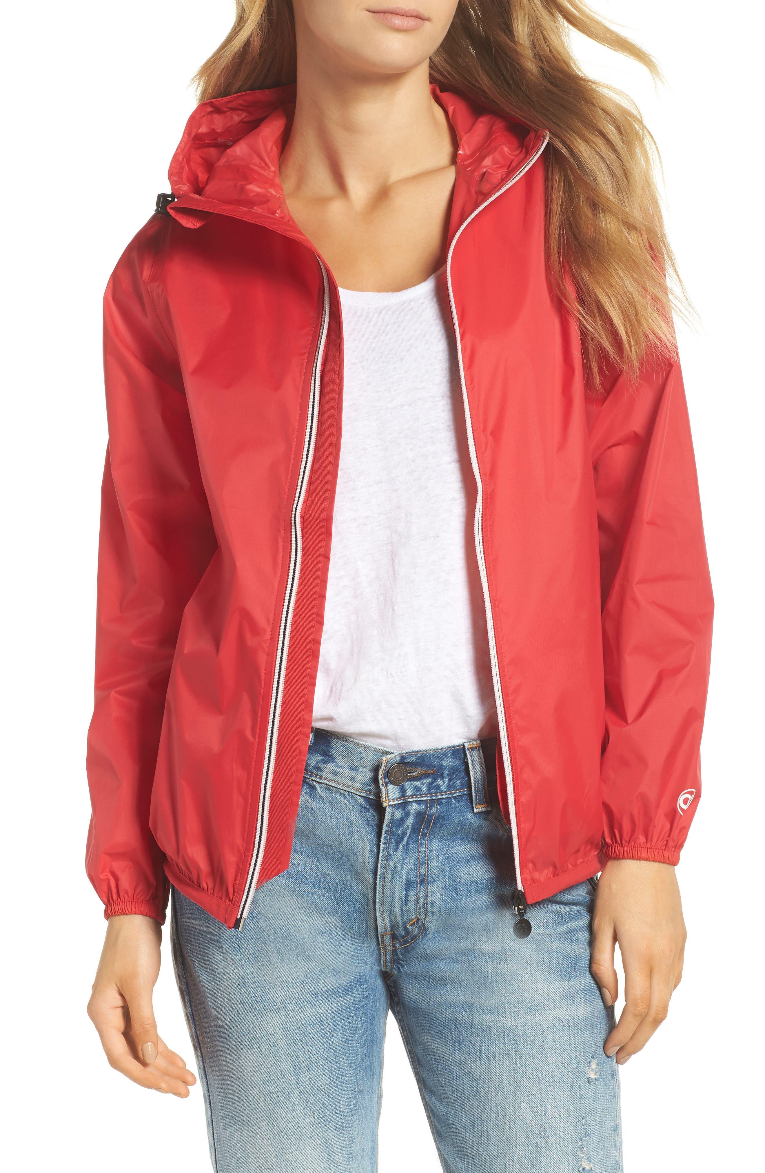 Packable Rain Jacket,                         Main,                         color, Red