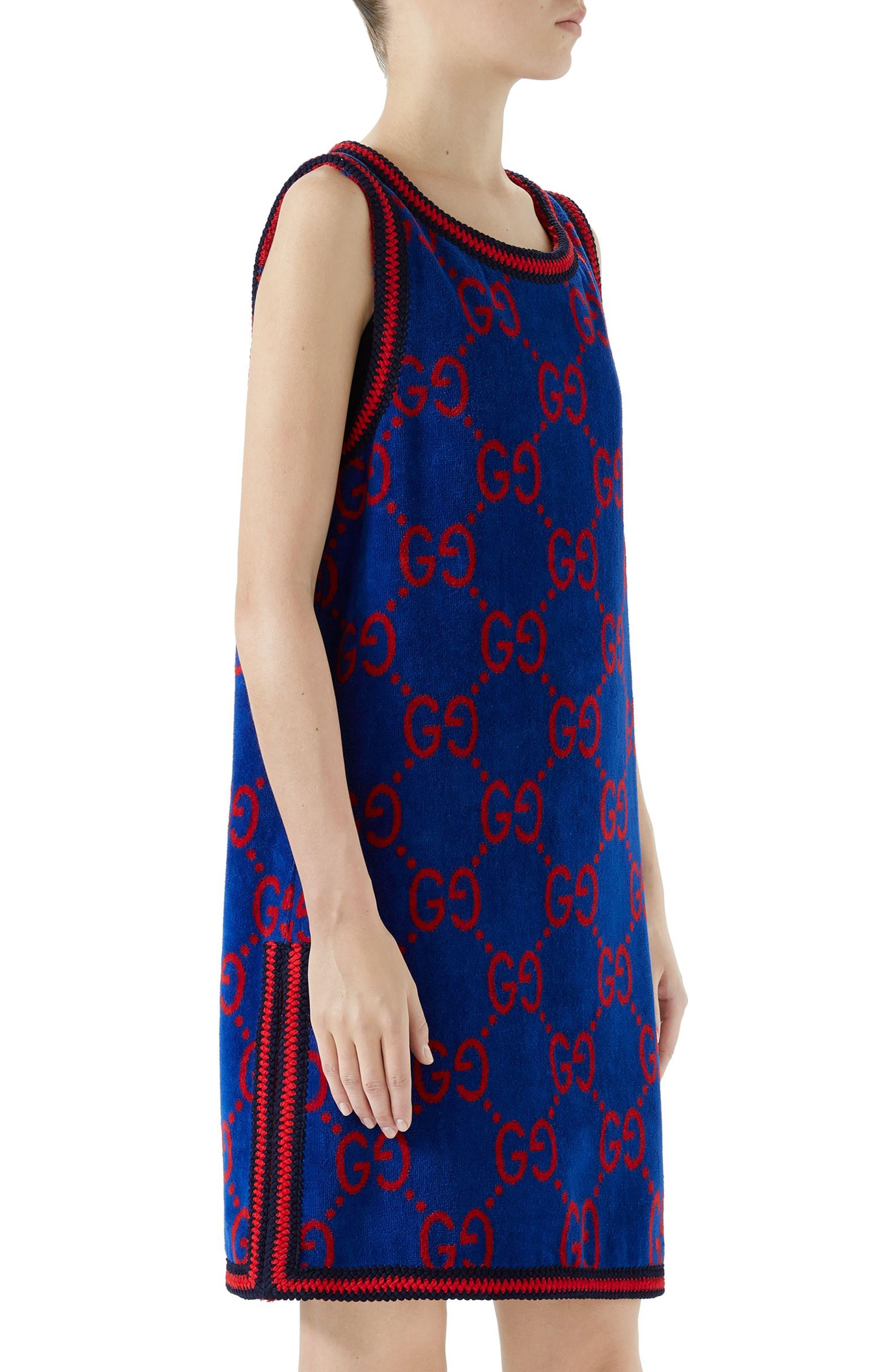 GG Cotton Jacquard Shift Dress,                             Alternate thumbnail 3, color,                             Multi