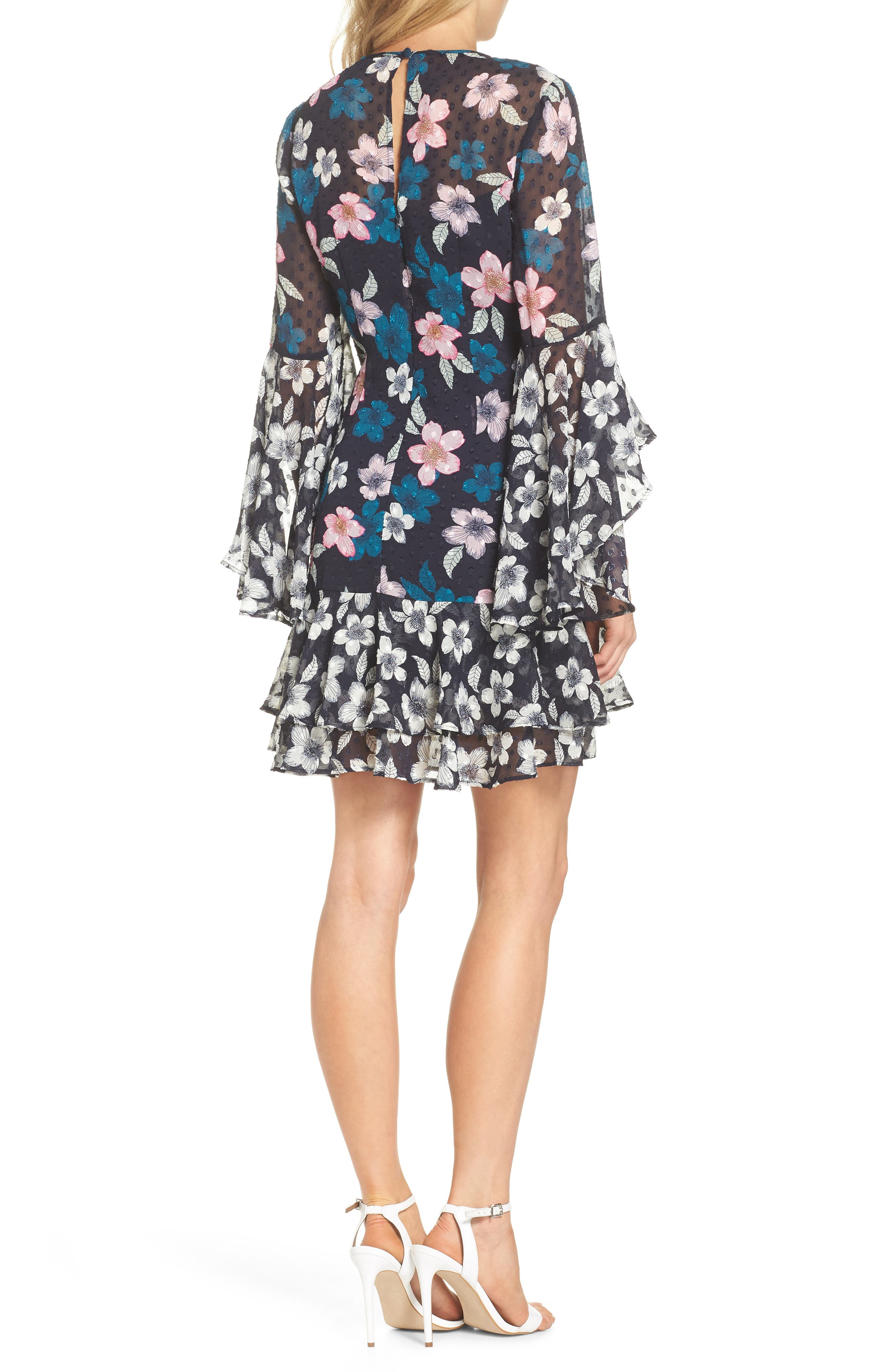Flounce Bell Sleeve Floral Fil Coupé Chiffon Shift Dress,                             Alternate thumbnail 2, color,                             Navy
